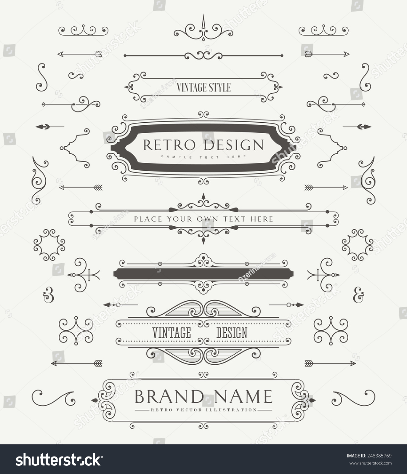 Vintage style ornaments - Set Of Vintage Decorations Elements Flourishes Calligraphic Ornaments And Frames Retro Style Design Collection