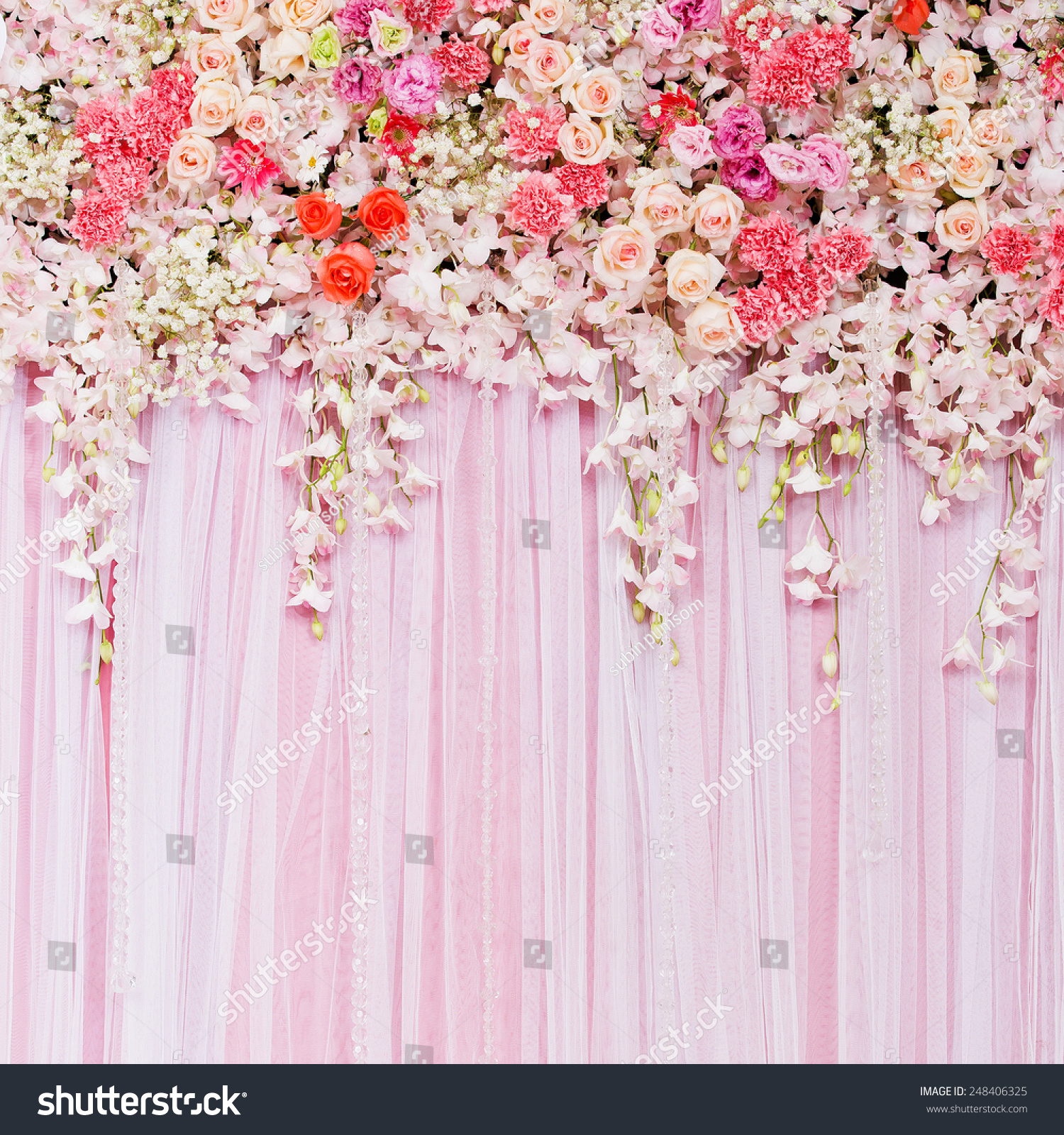 Wedding Flower Background: Beautiful Flowers Background Wedding Scene Stock Photo