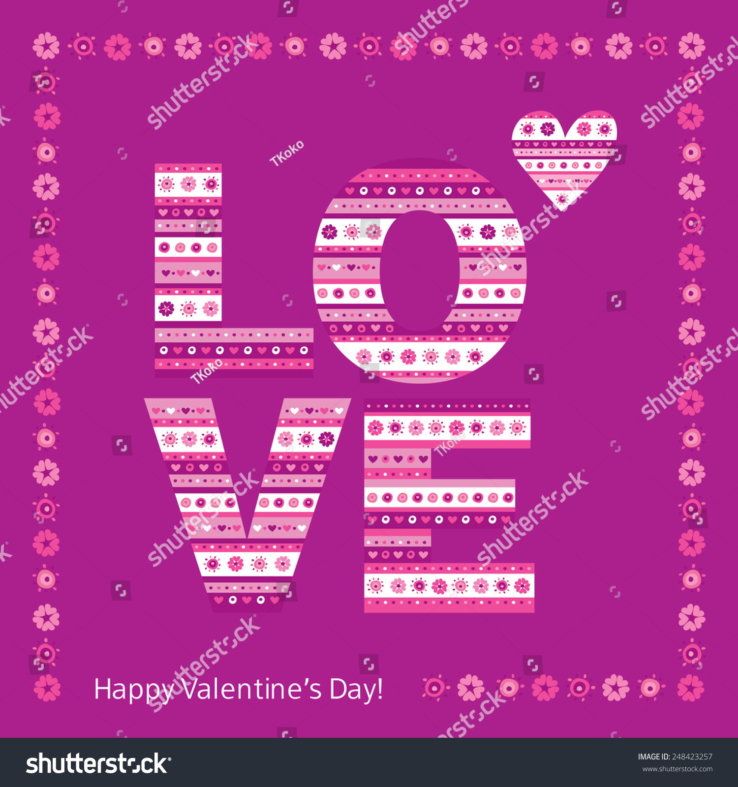 Greeting card happy valentines day love stock vector 248423257 greeting card with happy valentines day love the word love of flowers and hearts kristyandbryce Images