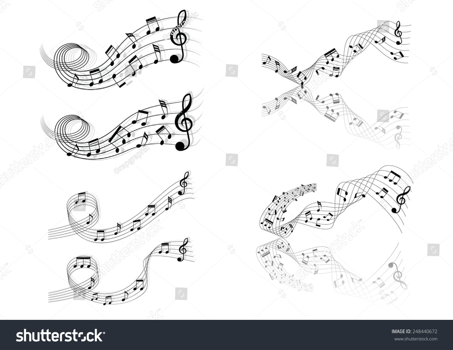 Collection six short musical chords vector stock vector 248440672 collection of six short musical chords a vector illustration hexwebz Image collections