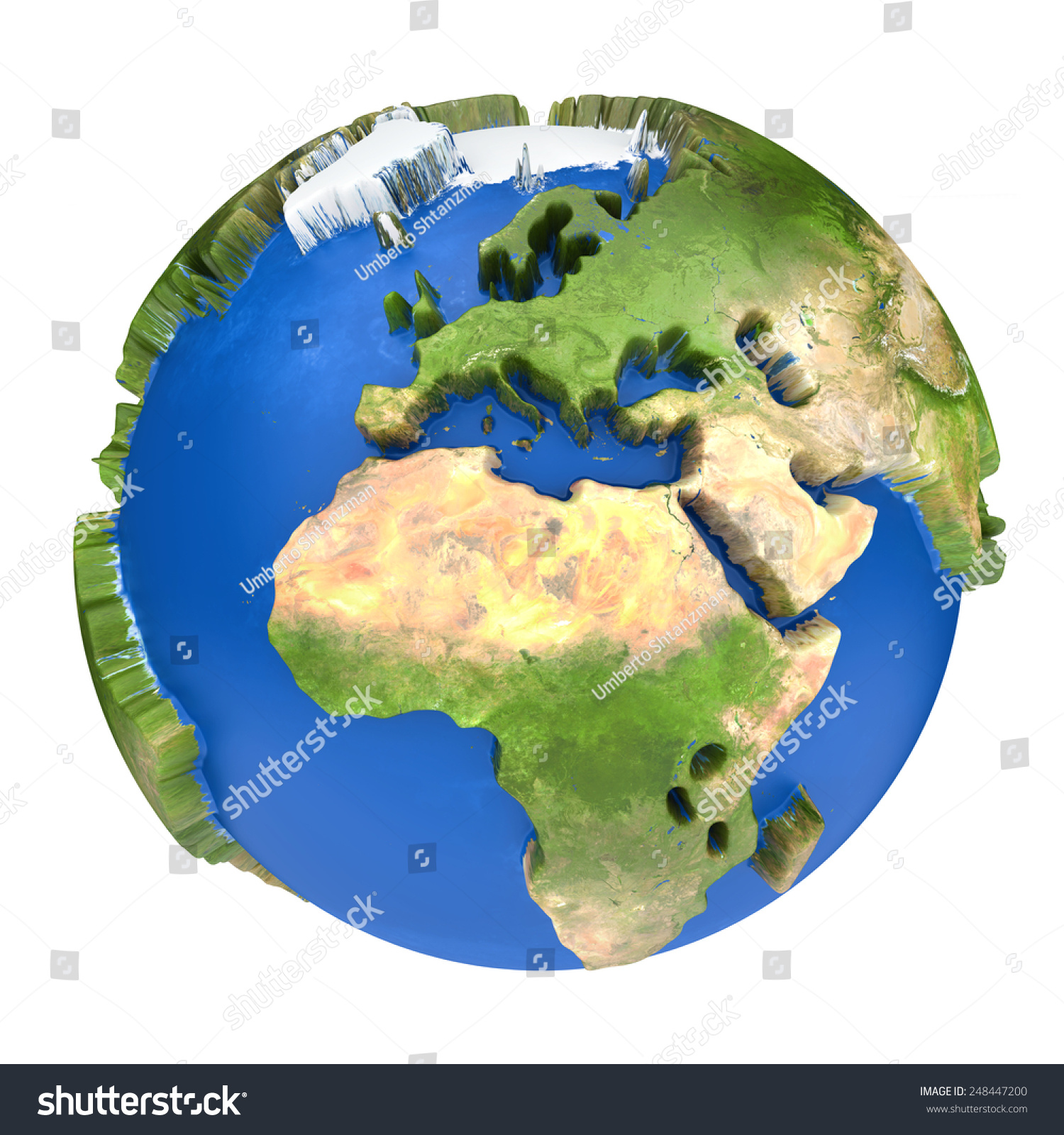 Earth world map africa europe on stock illustration 248447200 earth world map africa and europe on a planet globe 3d concept illustration gumiabroncs Images