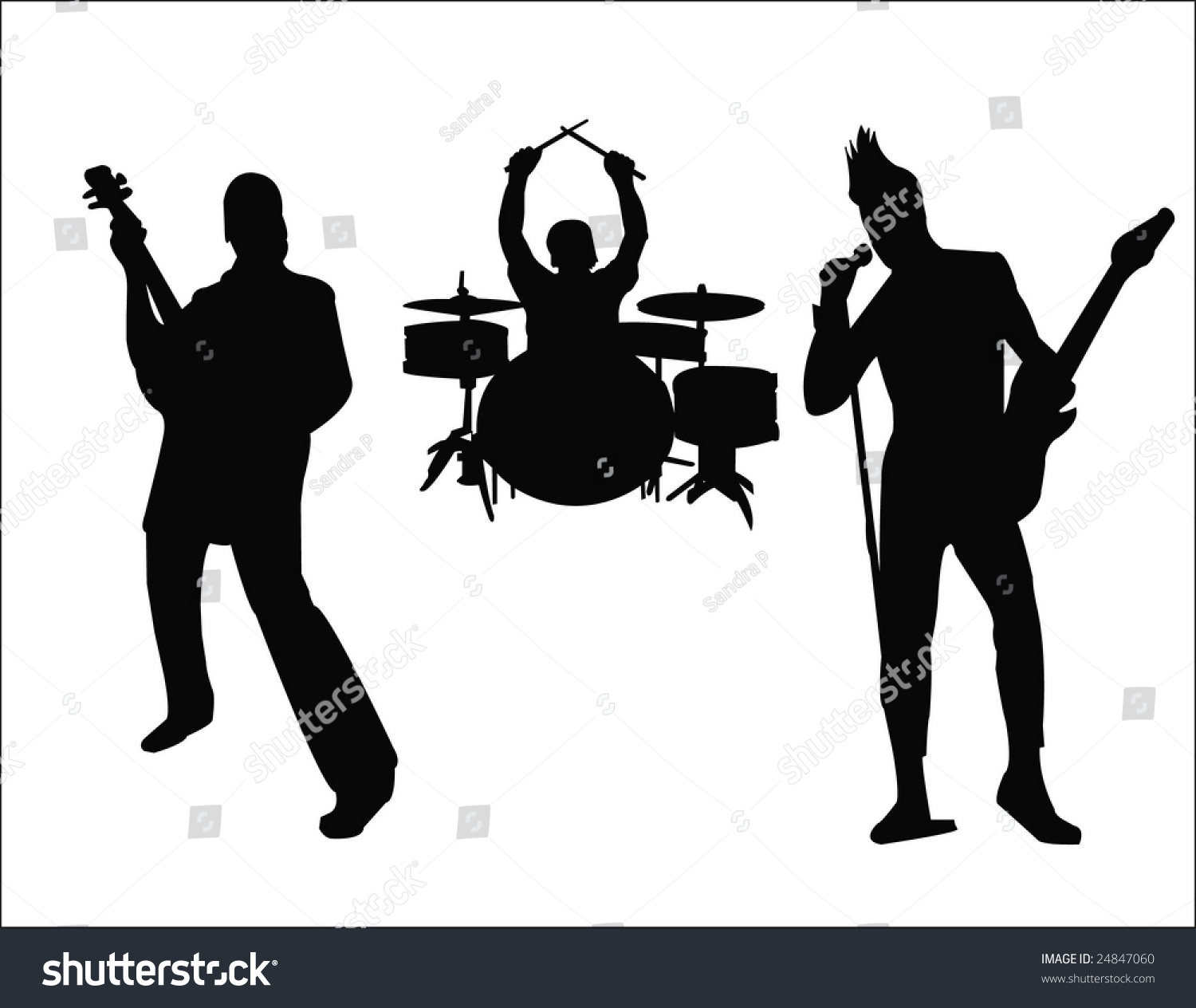 Silhouette Of Rock Band Stock Vector Illustration 24847060 ... Rock Band Silhouette