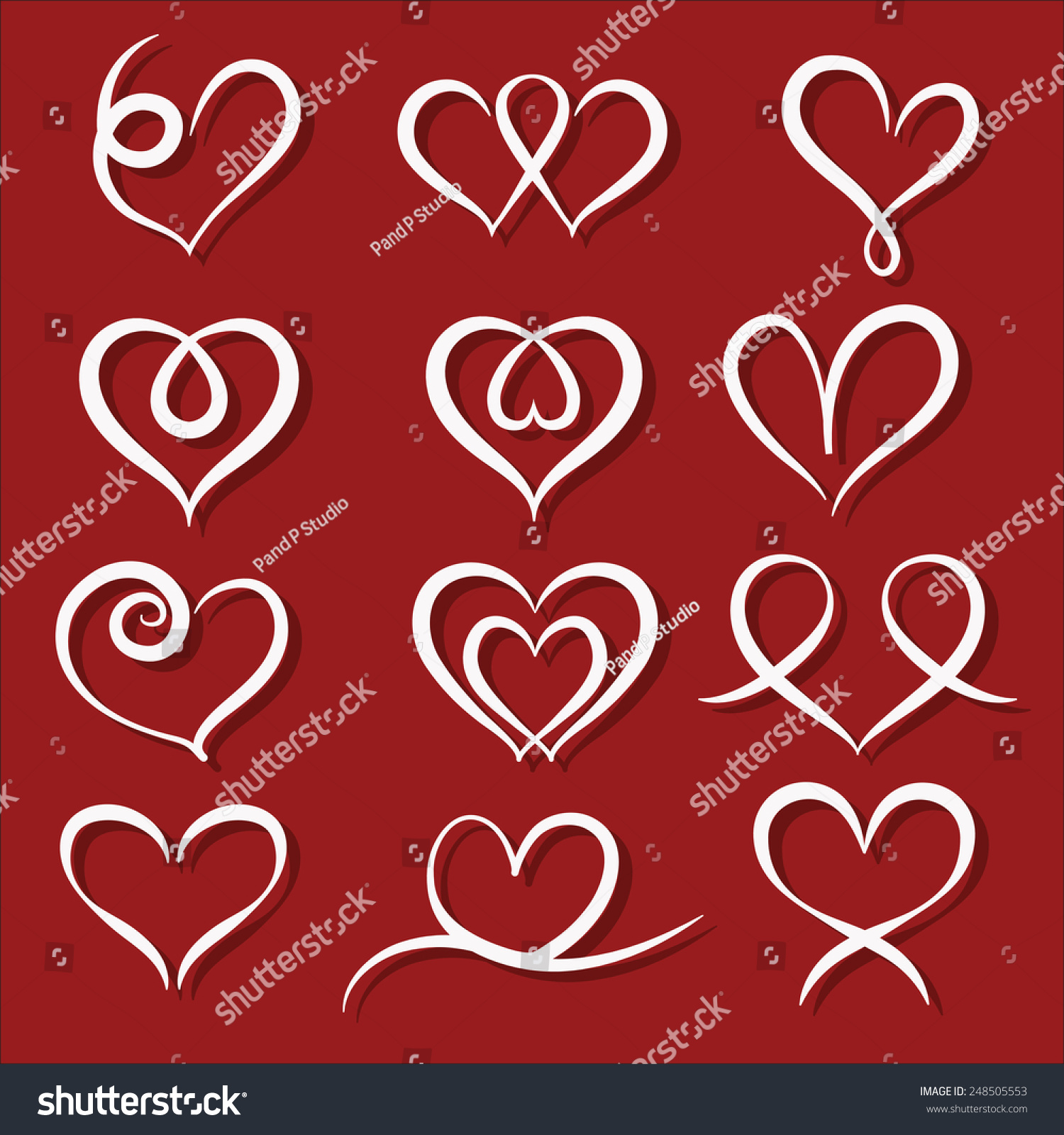Set Symbol Heart Vector Illustrator Stock Vector Royalty Free