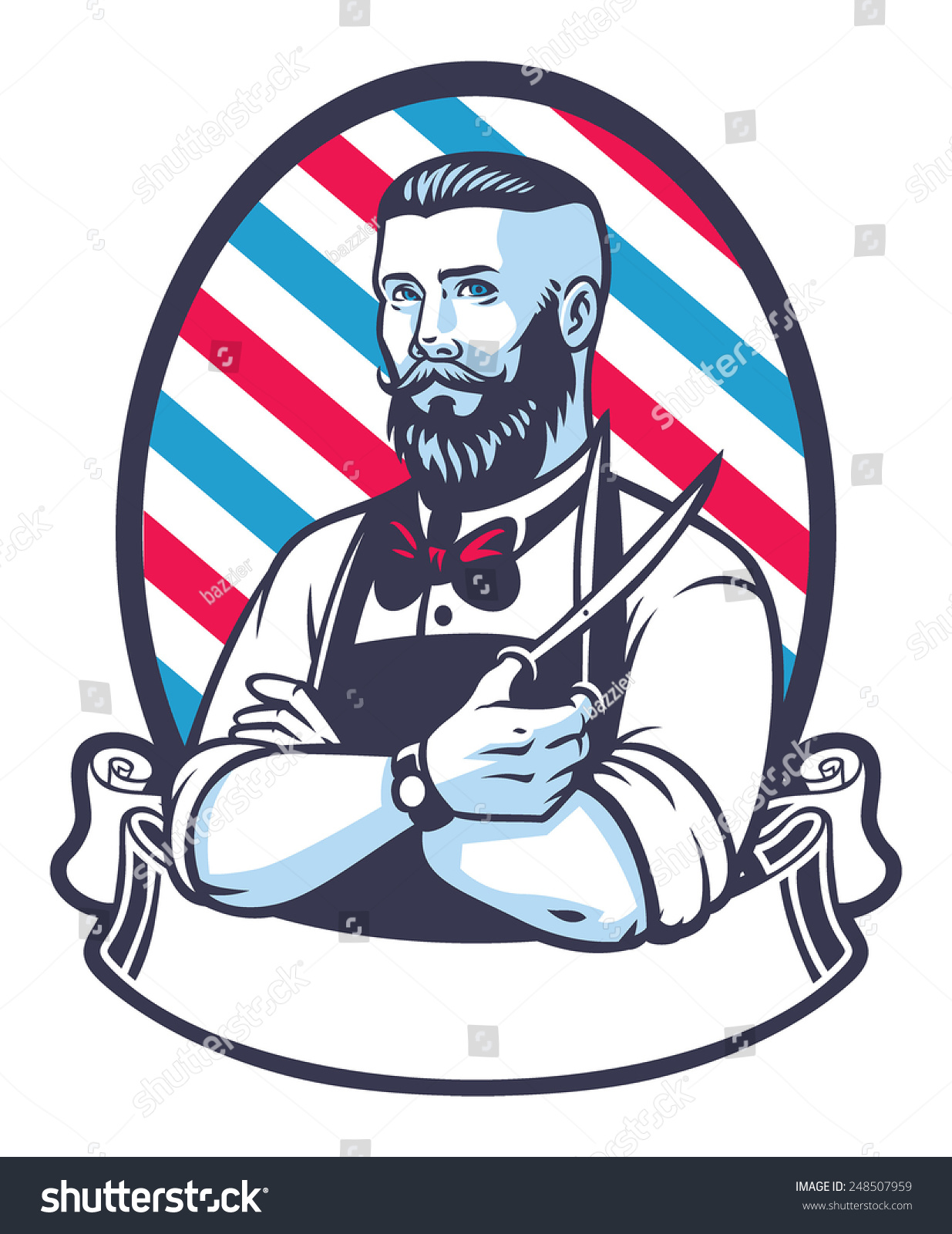 Barber Vector : Retro Illustration Of Barber Man - 248507959 : Shutterstock