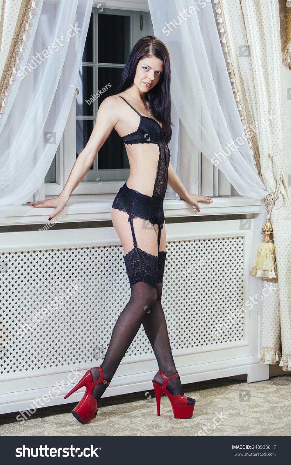 Sexy lingerie high heels