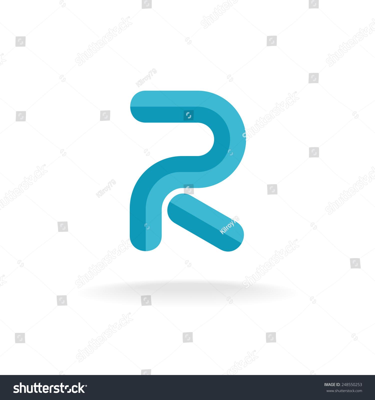 Letter R Logo Flat Bevel Technical Style