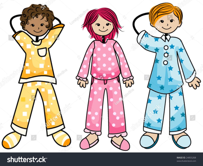 pajama kids vector stock vector 24855268   shutterstock