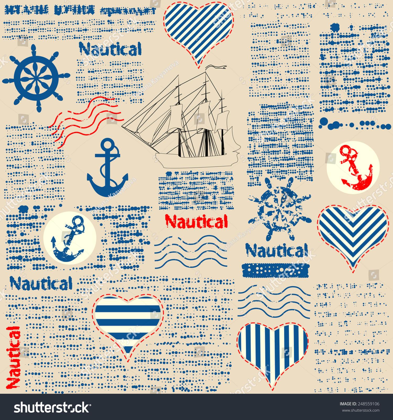 Key Elements Of Nautical Style: Imitation Newspaper Nautical Style Grunge Elements Stock