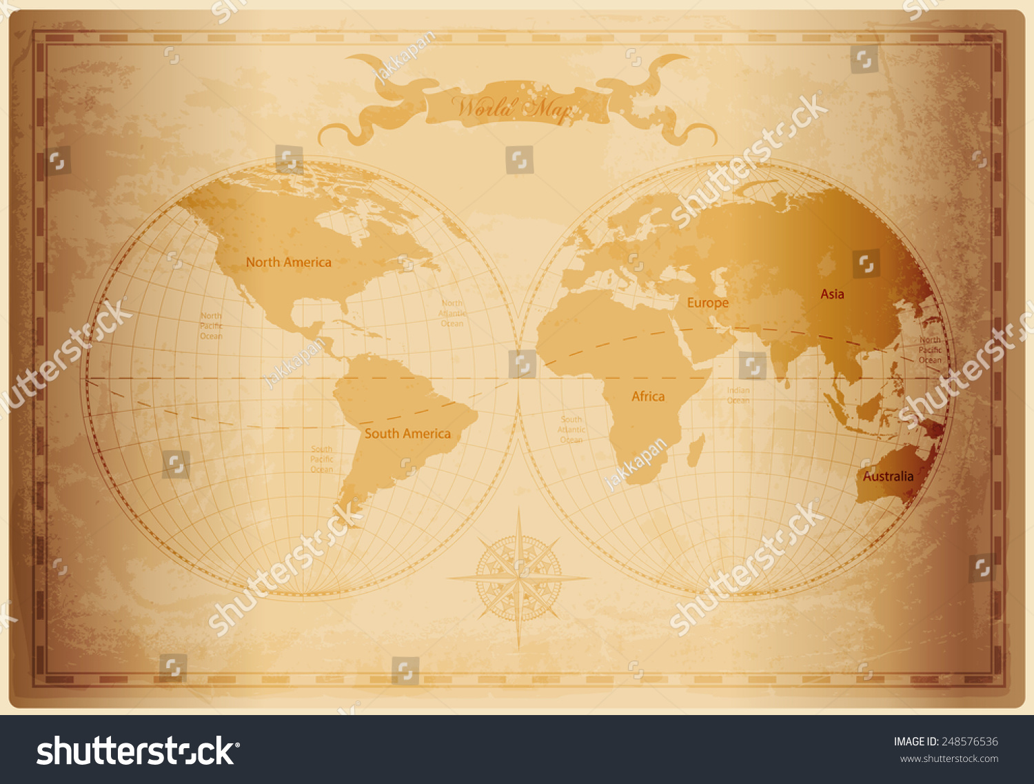 Old World Map Vintage Paper Texture Stock Vector 248576536