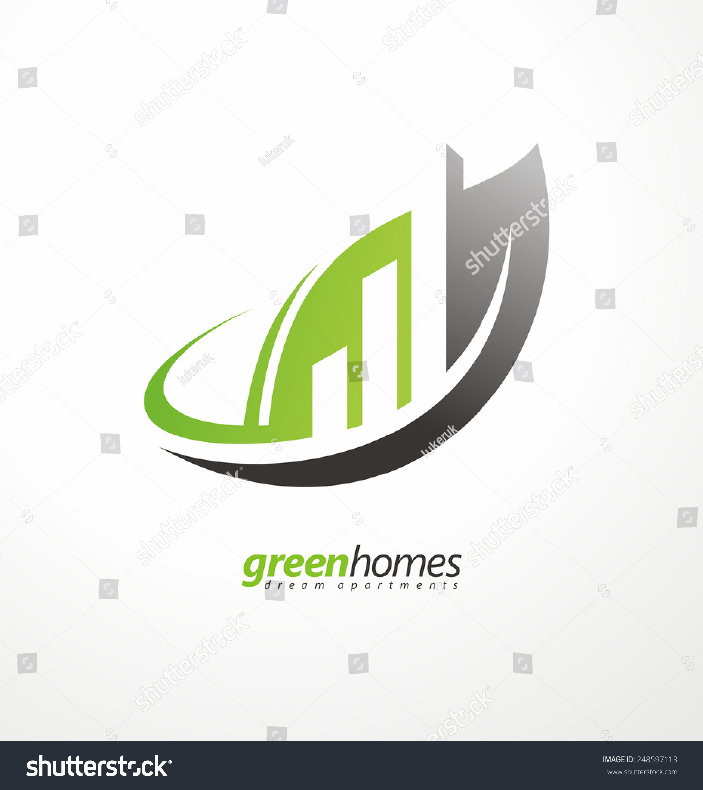 Green Homes Creative Symbol Layout Dream Stock Vector HD (Royalty ...