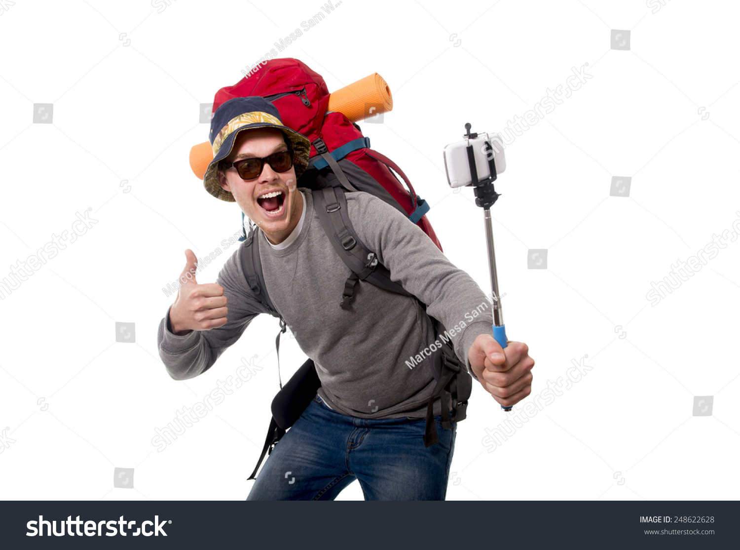 young attractive backpacker tourist taking selfie stock photo 248622628 shutterstock. Black Bedroom Furniture Sets. Home Design Ideas