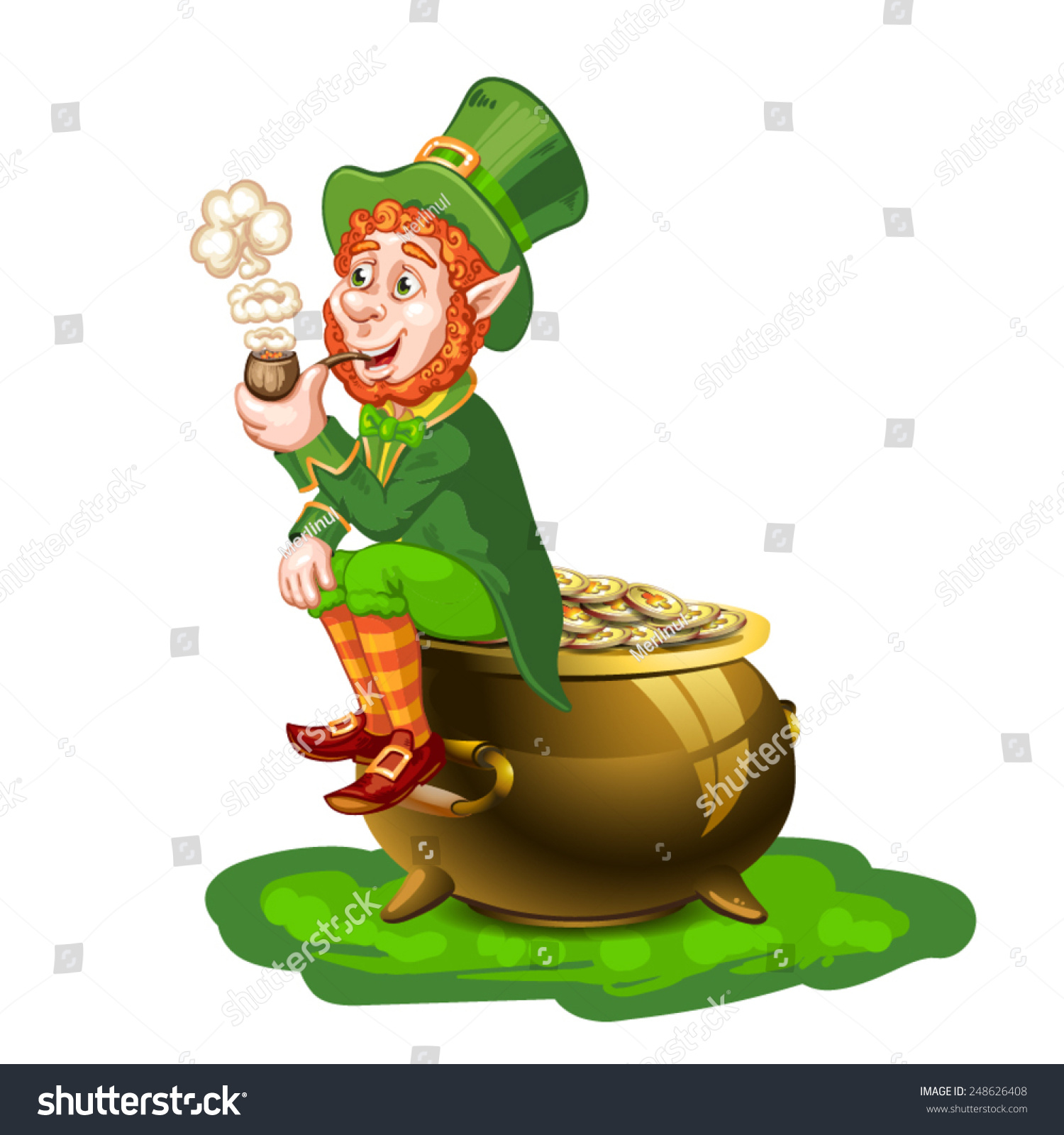 leprechaun sitting on pot gold holding stock vector 248626408