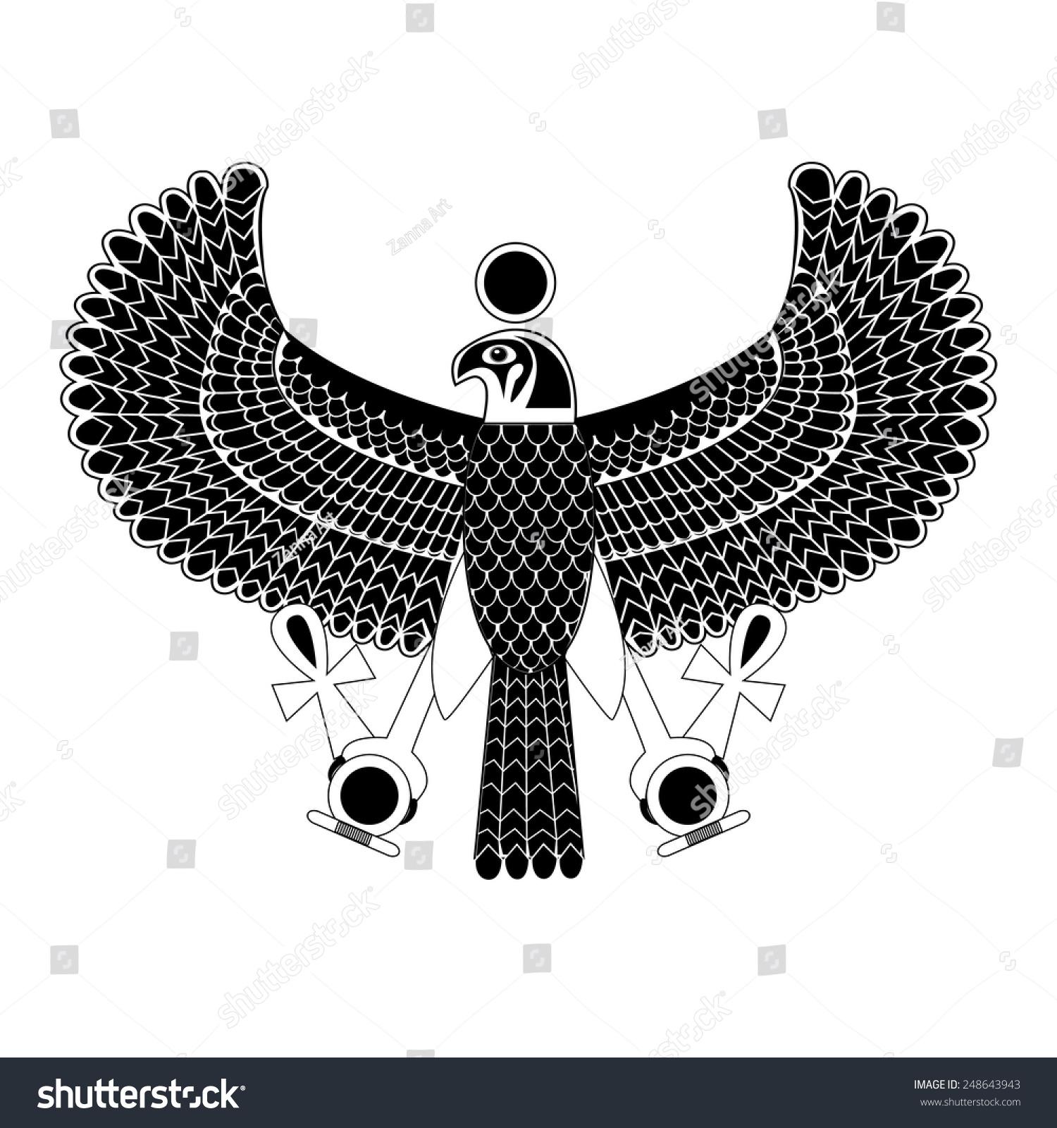 Black White Ancient Egyptian Symbol Horus Stock Vector Royalty Free