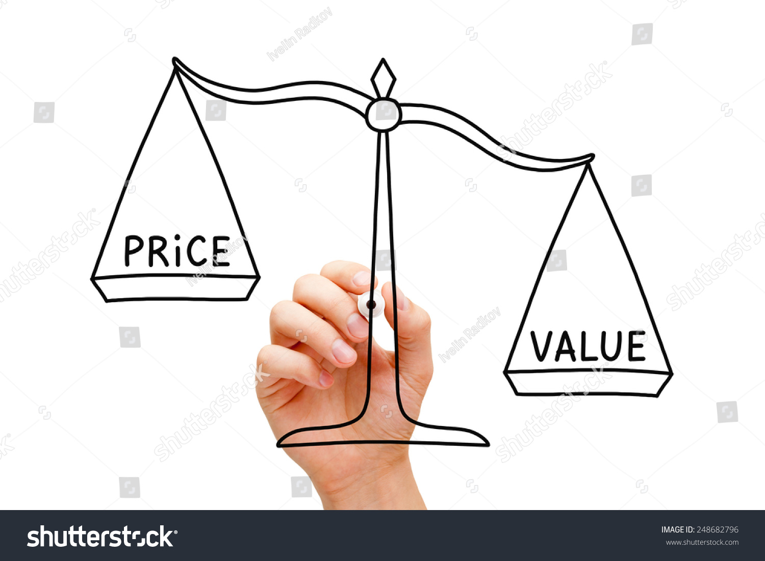 Hand Drawing Value Price Scale Concept Stock Photo 248682796 ...