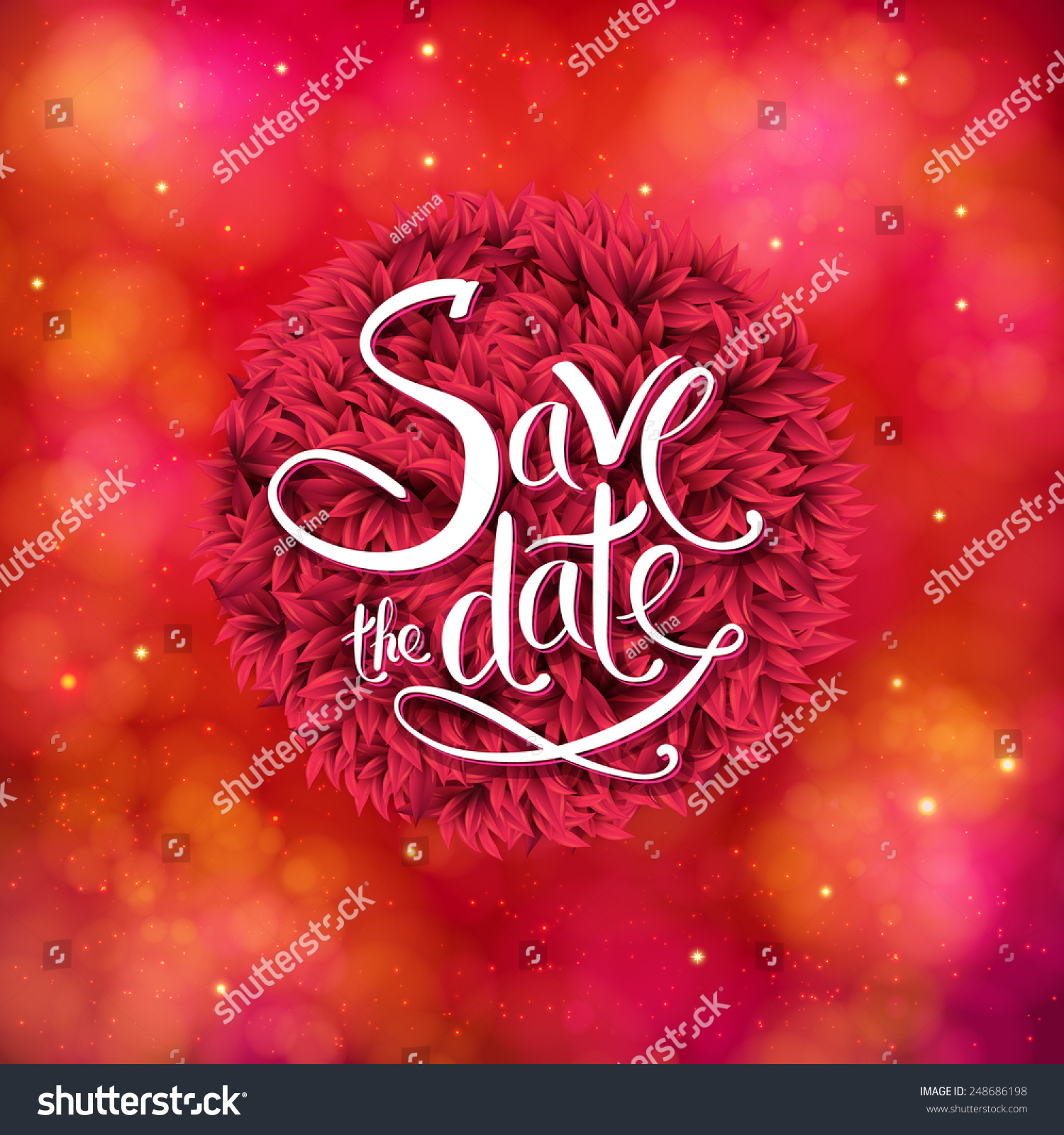Romantic Red Save Date Wedding Card Stock Vector 248686198 ...