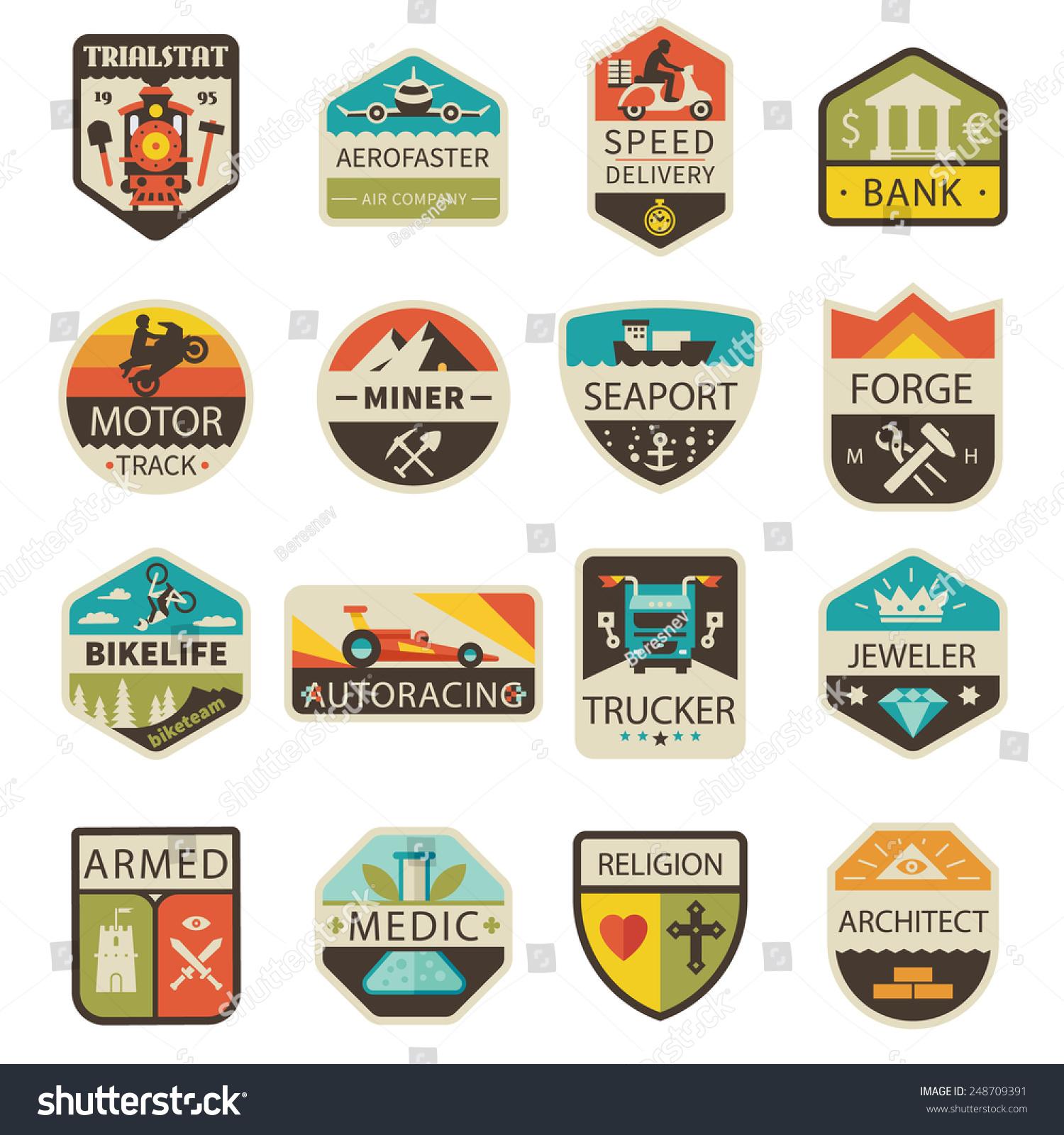 Vintage Premium Product Flat Badges Set:  Vintage Logos Badges Professions Transportation Vector