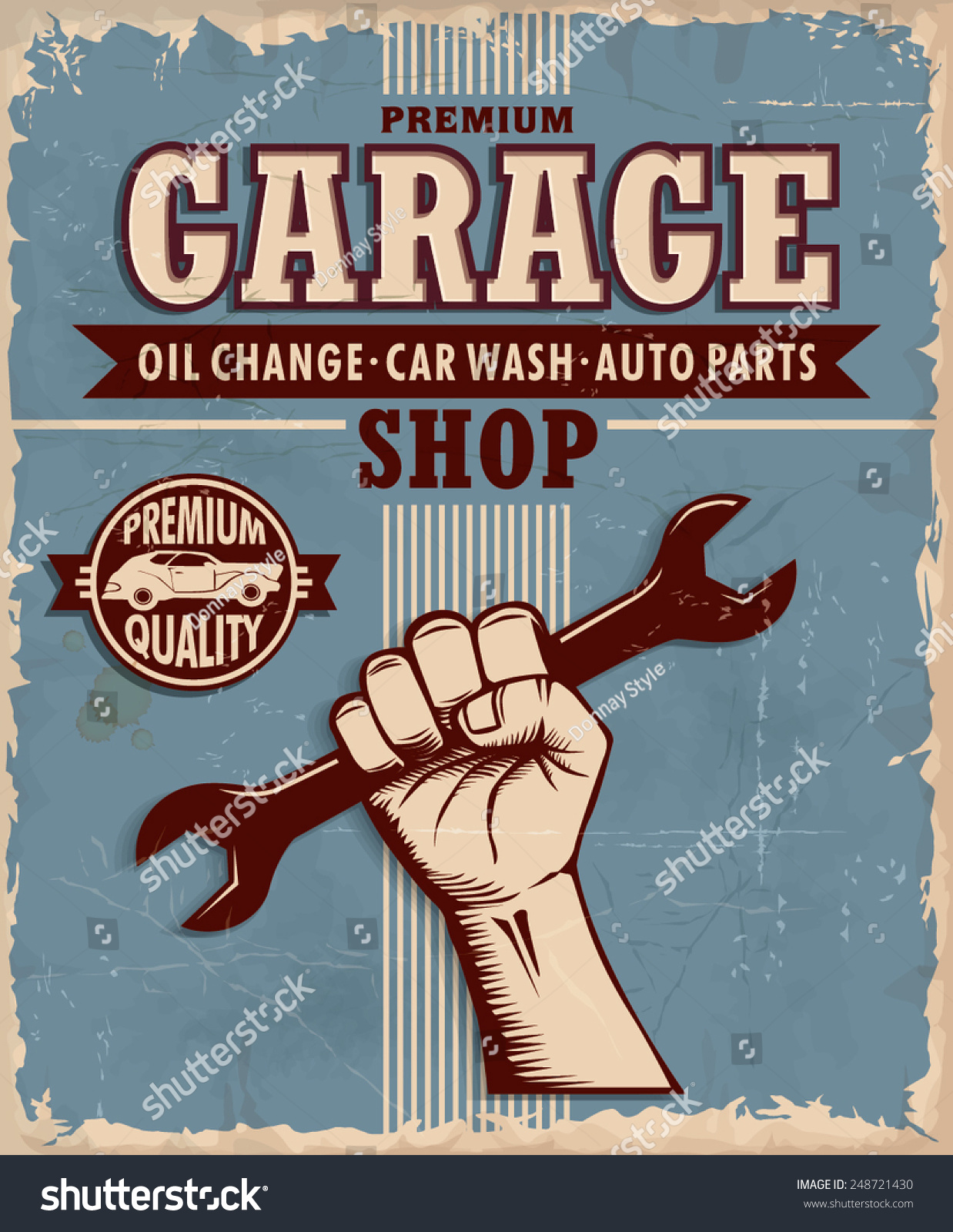 Parts of a poster design - Vintage Garage Poster Design