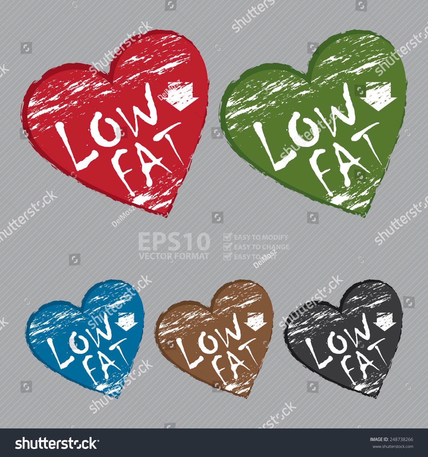Vector heart shape low fat sticker stock vector 248738266 vector heart shape low fat sticker icon or label biocorpaavc