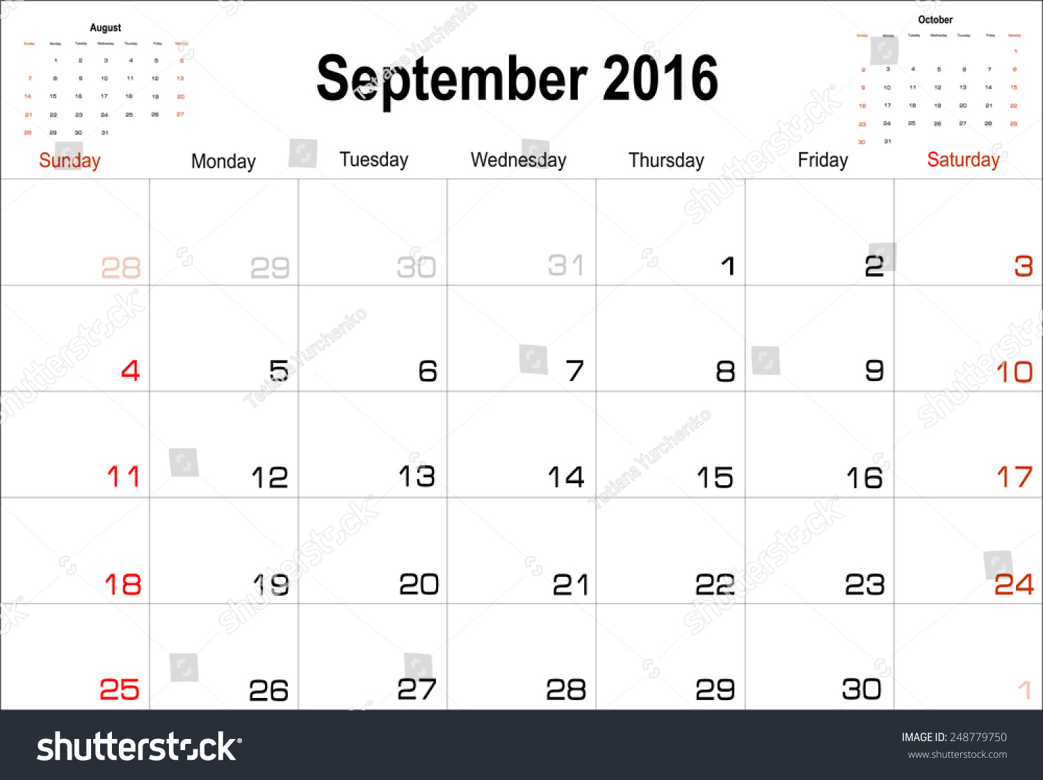 vector planning calendar september 2016 248779750 shutterstock. Black Bedroom Furniture Sets. Home Design Ideas