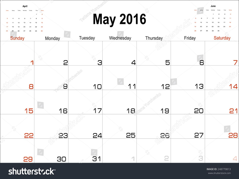 May Calendar Vector : Vector planning calendar may stock