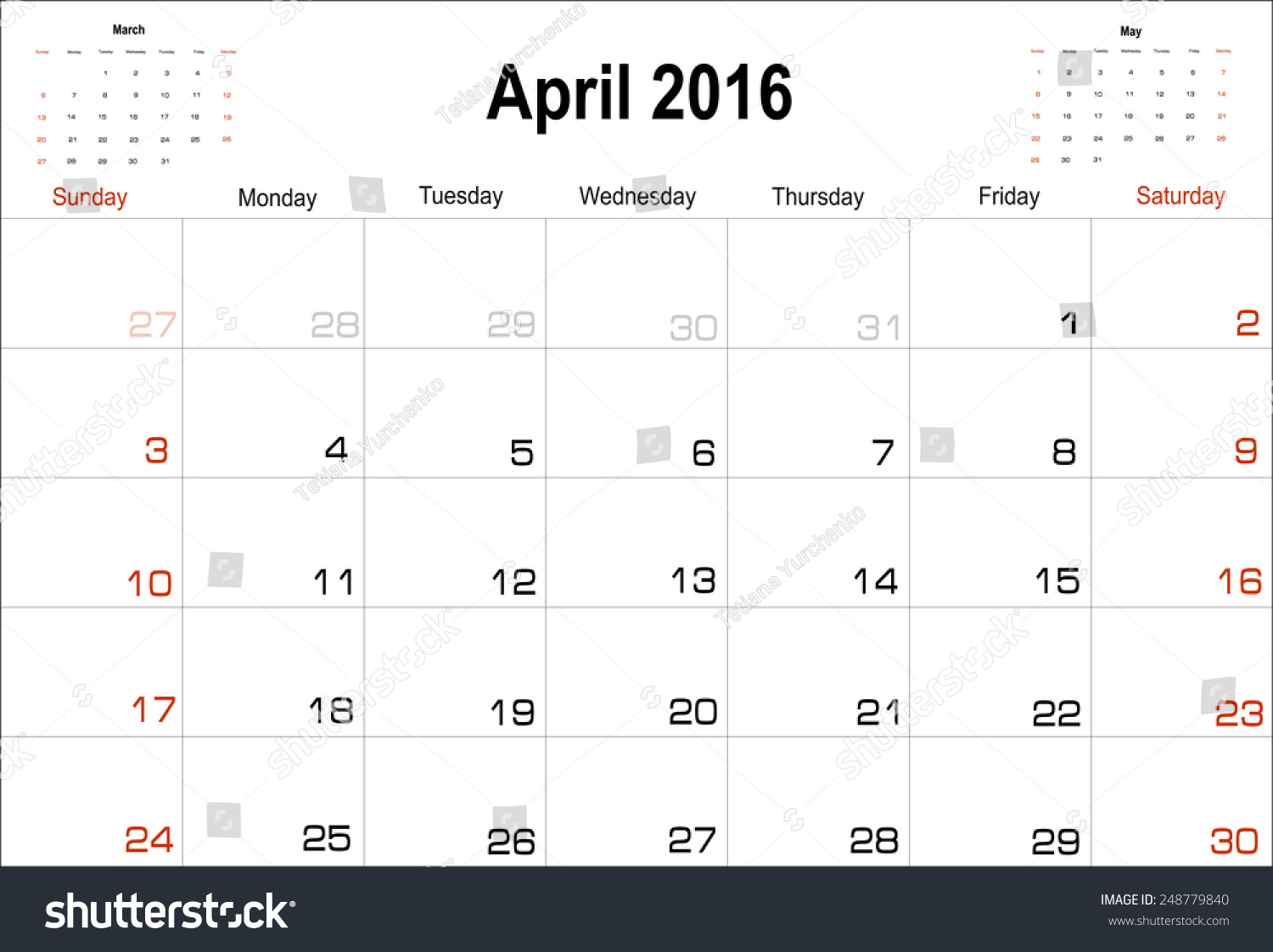 Calendar April Vector : Vector planning calendar april  shutterstock