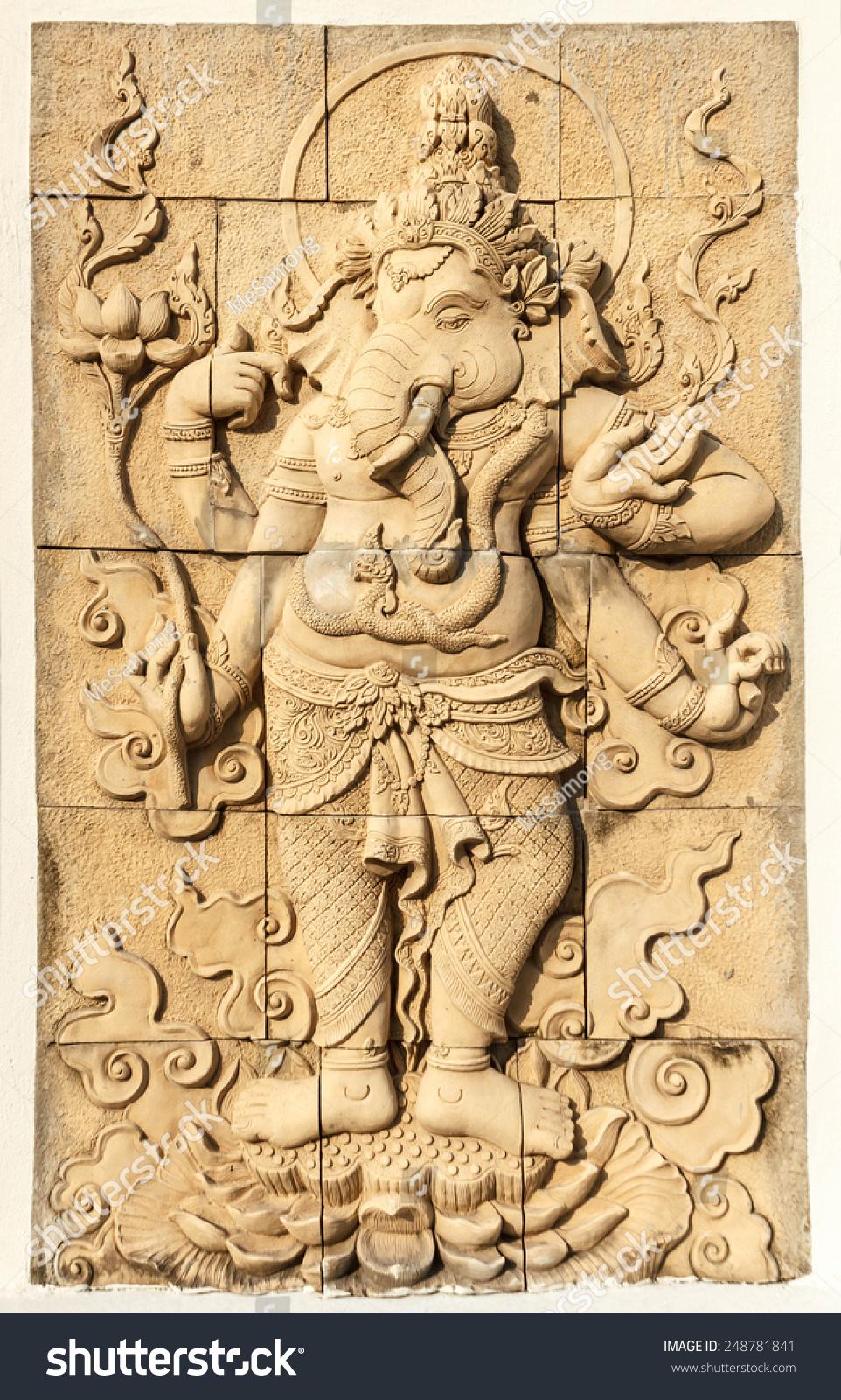 Sand Stone Ganesha Sculpture On Wall Stock Photo (Edit Now ...