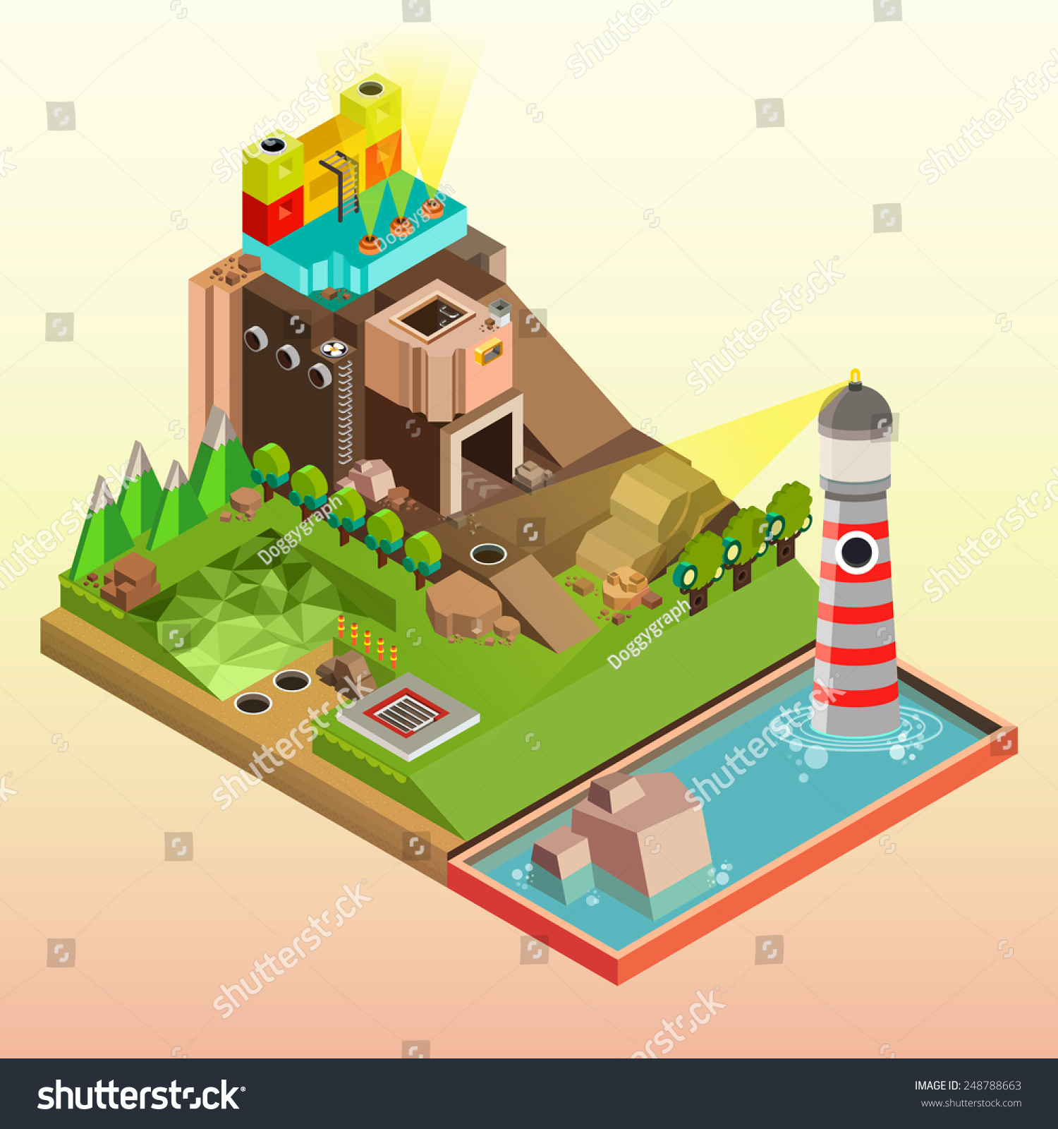 Flat 3d isometric infographics concept art stock vector for 3d flat design online