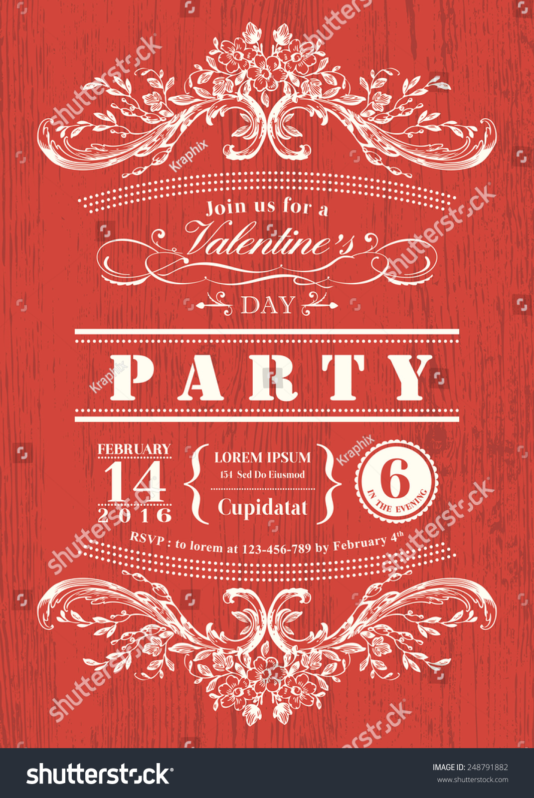 Valentine Day Card Party Invitation Vintage Stock Vector 248791882 ...