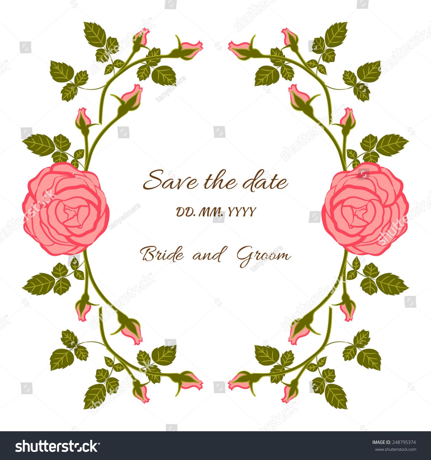 Card Bridal Shower Floral Background Invitation Stock Vector