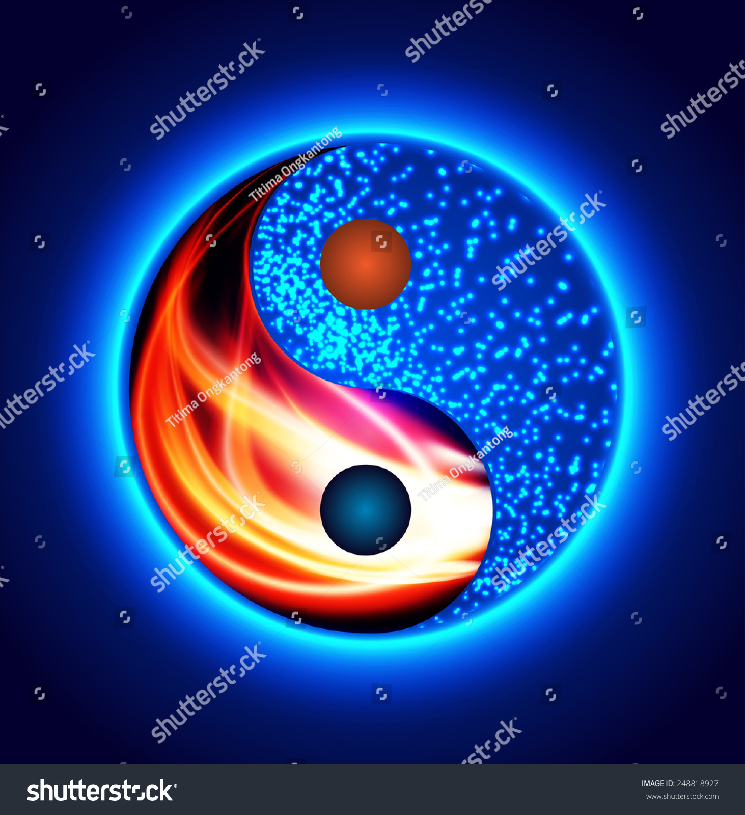 Yin yang symbol red fire blue stock vector 248818927 shutterstock yin yang symbol red fire and blue water opposite heating cooling buycottarizona