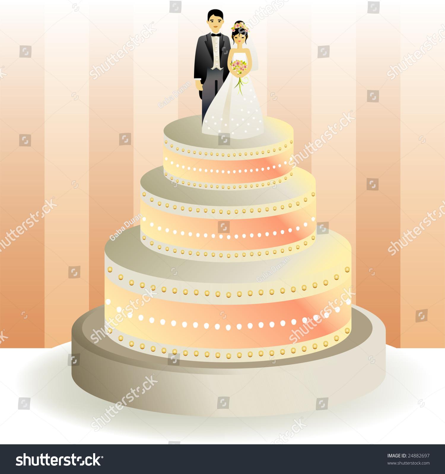 White wedding cake. Realistic vector design. | EZ Canvas