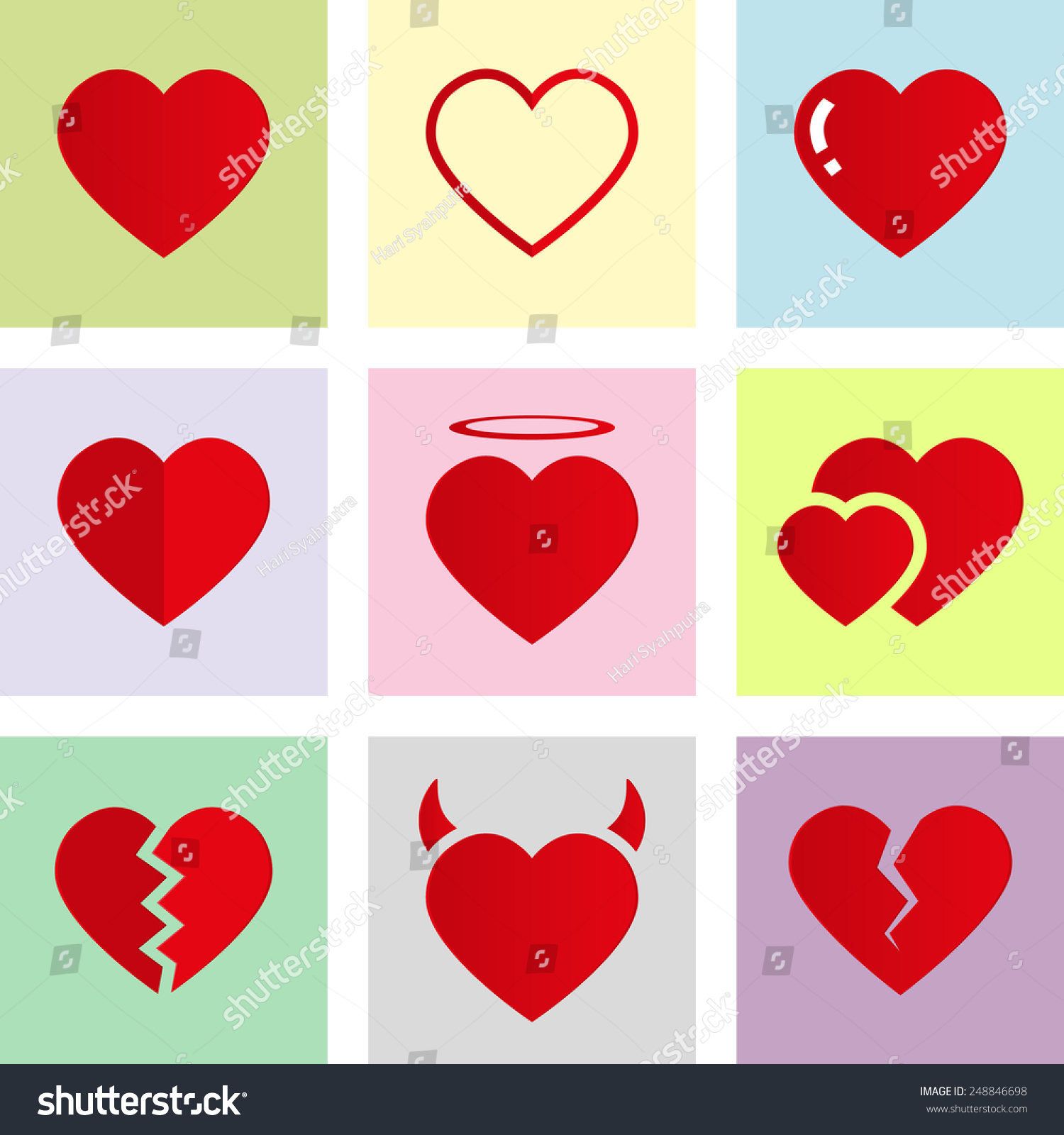 Vector Love Heart Symbol Icon Flat Stock Vector 248846698 ...