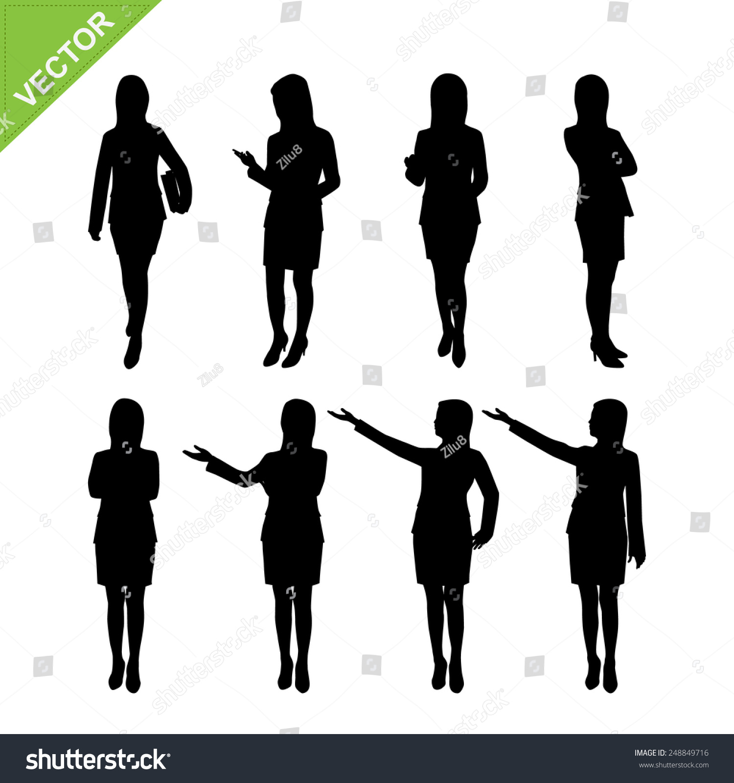 Business Woman Silhouettes Vector - 248849716 : Shutterstock