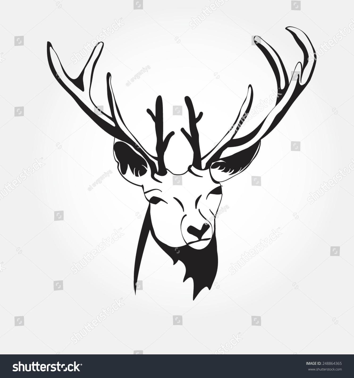 Deer illustration black and white - photo#32