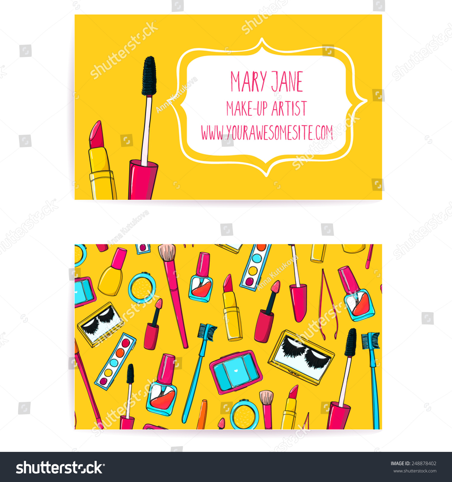 Colorful Make Artist Business Card Template Stock Photo (Photo ...