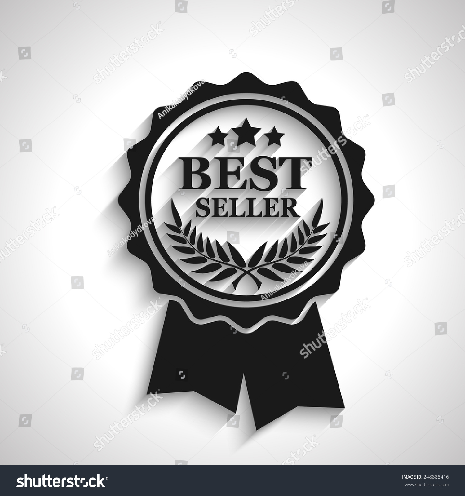 Royalty free best seller icon with long shadow for Best seller