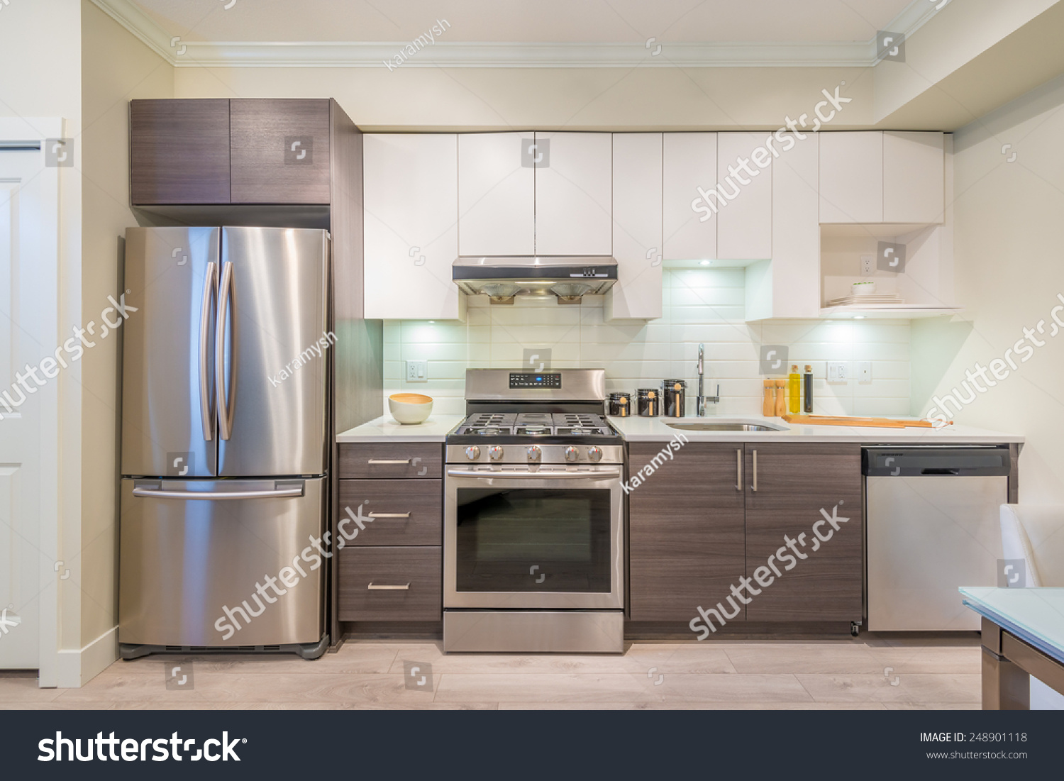 Modern Bright Clean Kitchen Interior Stainless Stock Photo 248901118 Shutterstock