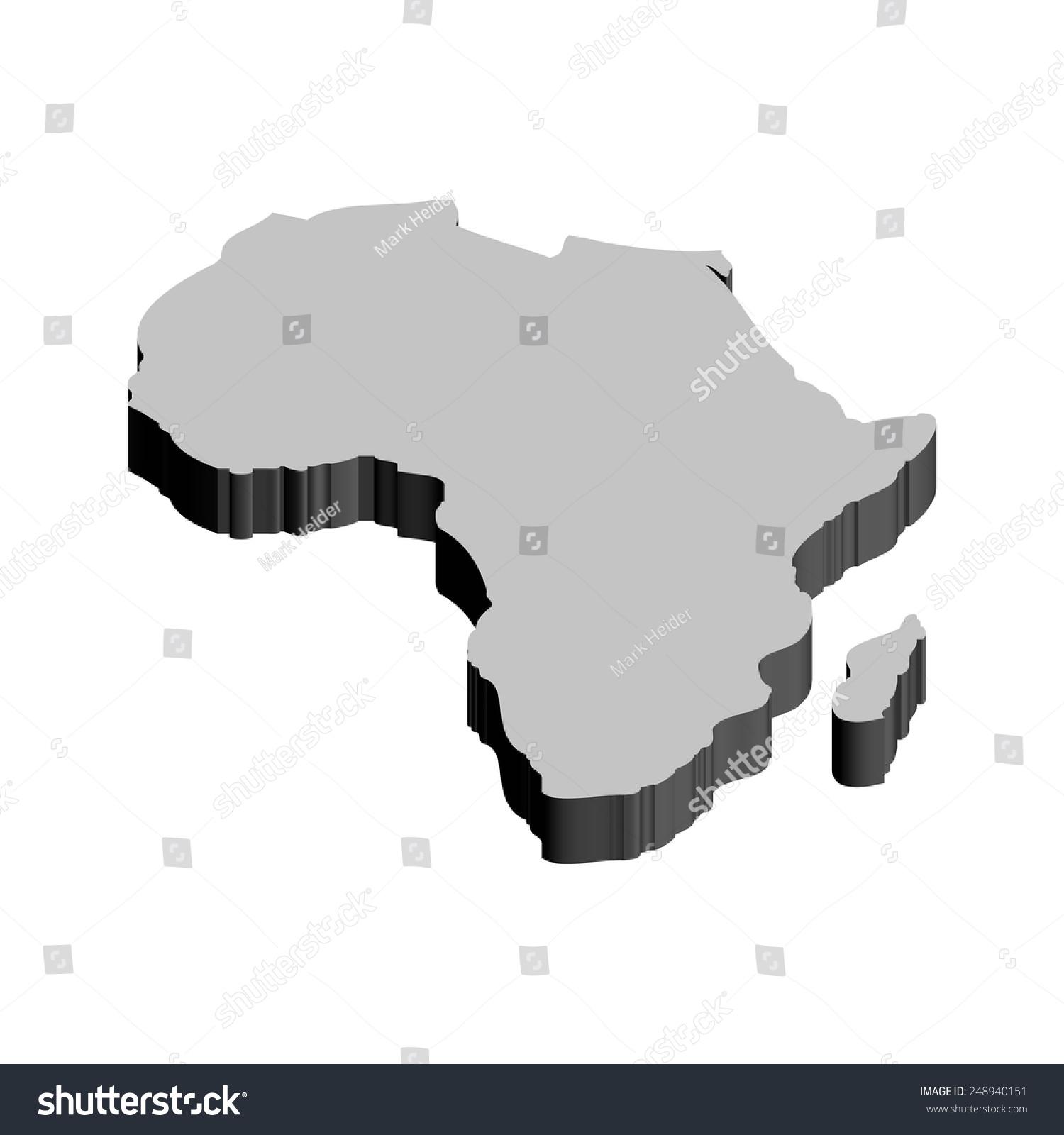 3d Africa Map Stock Vector 248940151 Shutterstock