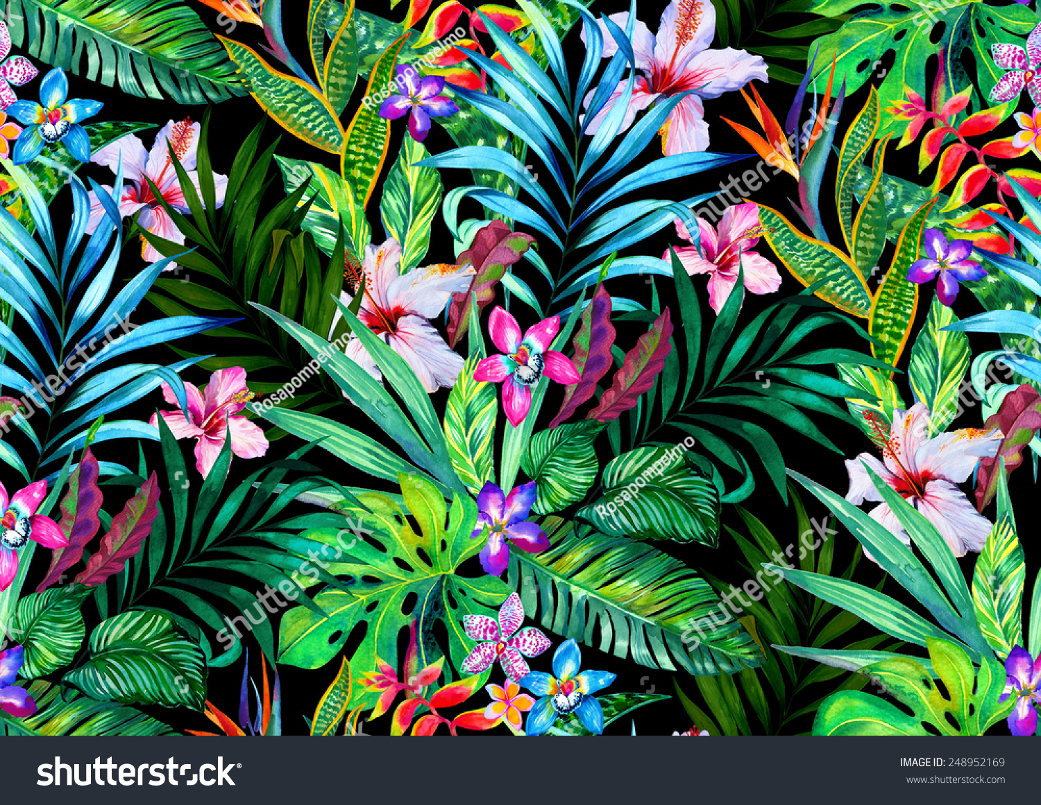 Amazing Seamless Tropical Pattern Exotic Hibiscus And