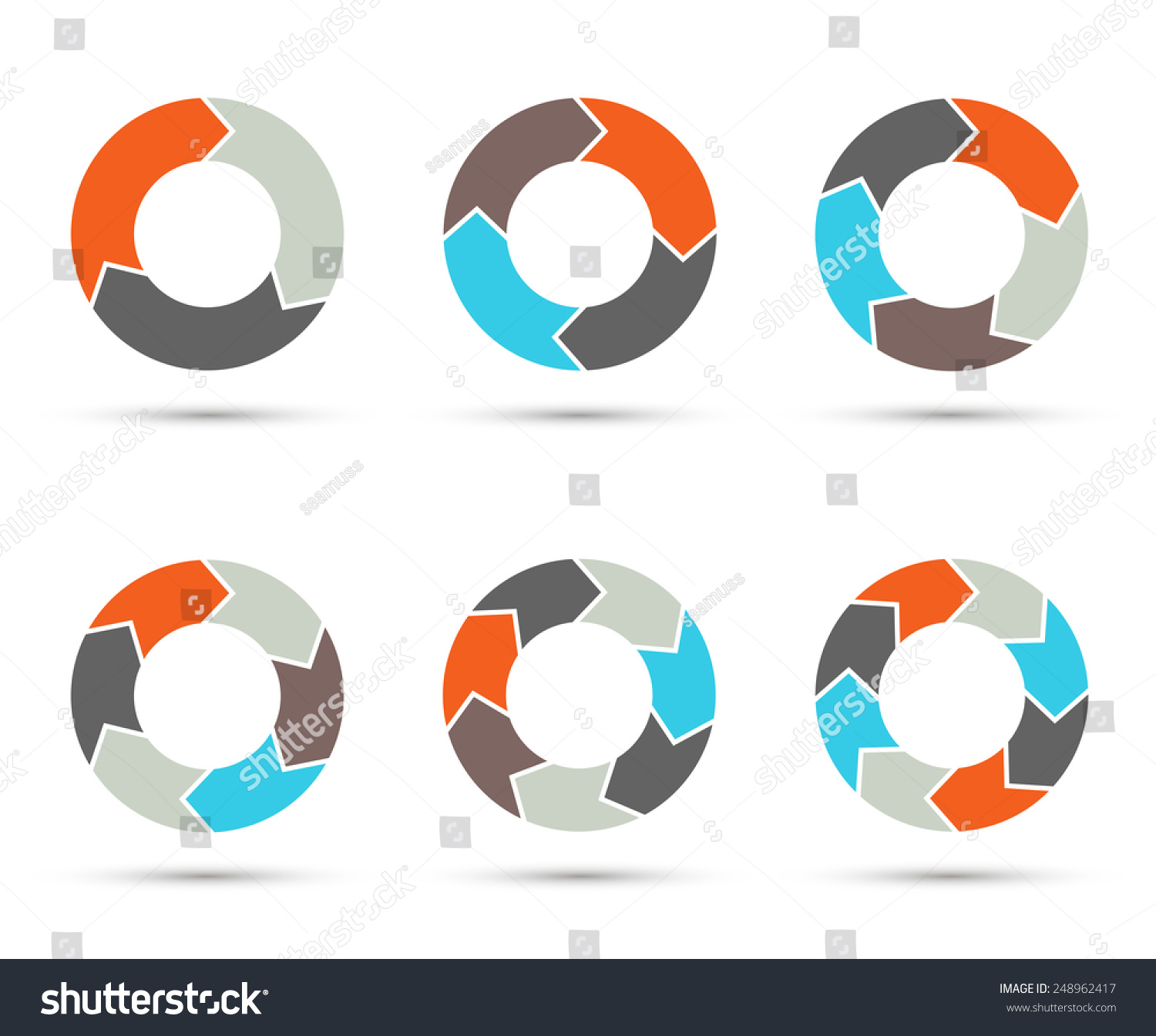 vector circle arrows set for infographic  template for cycle diagram, graph,  presentation and round chart  business concept with 3, 4, 5, 6, 7, 8  options,