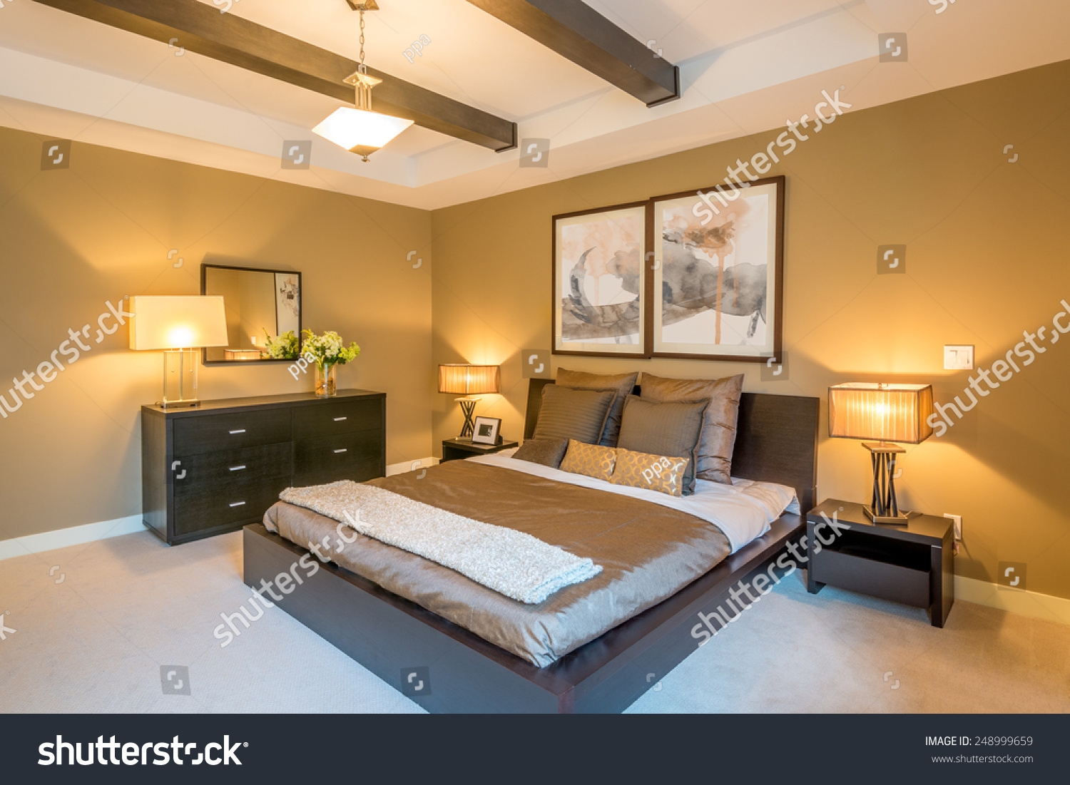 Modern Bright Bedroom Interior With Designer Pillows In A