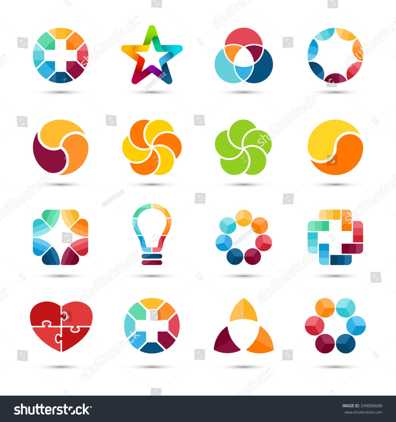 Logo Templates Set Abstract Circle Creative Stock Vector Royalty
