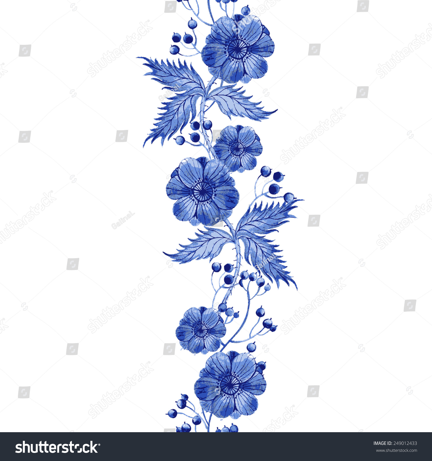 vector floral watercolor texture pattern blue stock vector