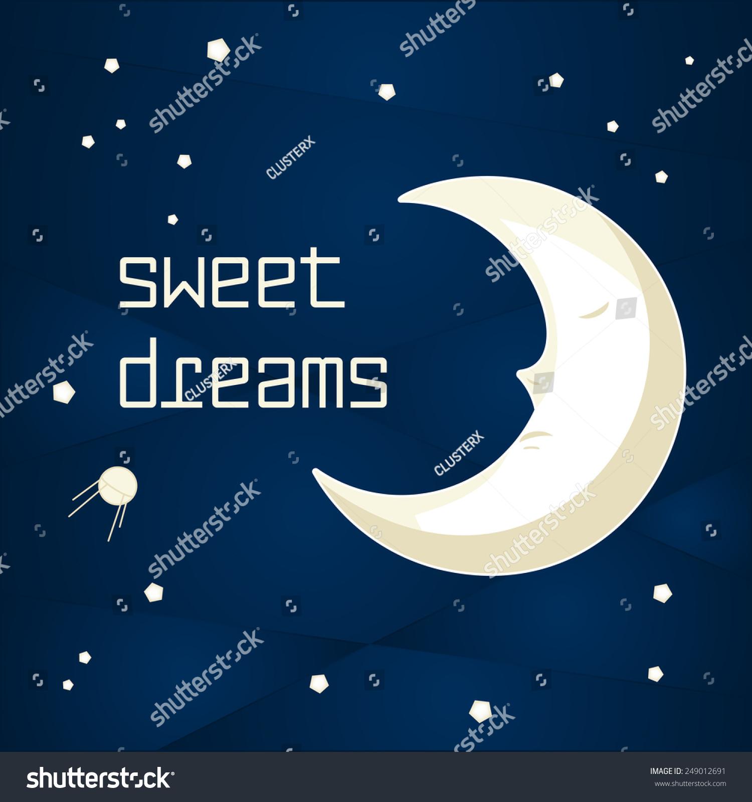 Pretty Cartoon Moon Sleeping Night Sky Stock Vector ...