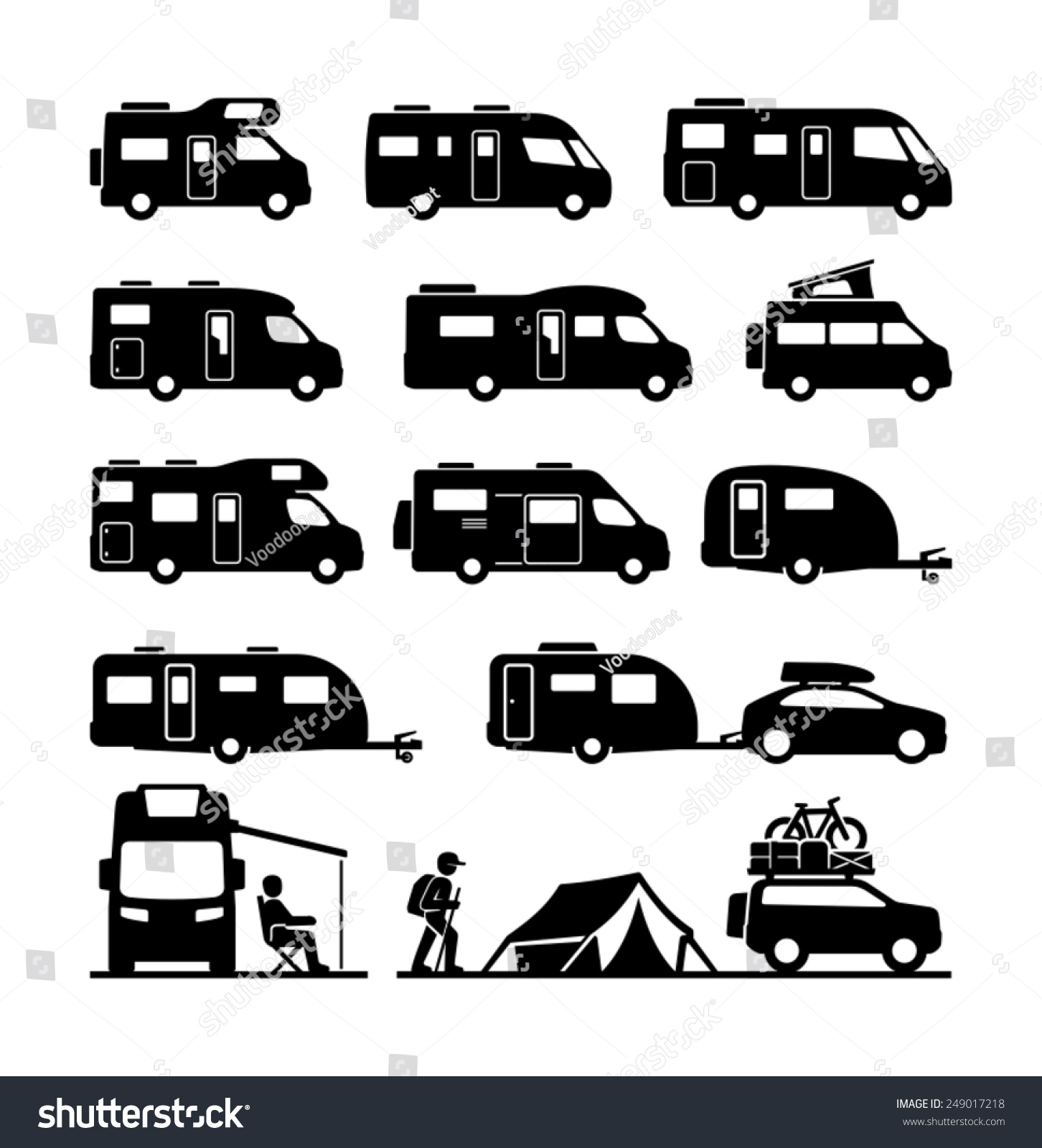 Simple  The Summer Recreational Vehicles Camper Vans Icons Camper Illustration