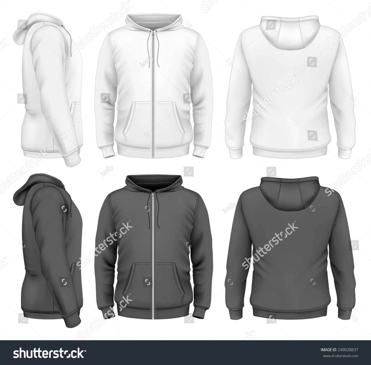 Mens Zip Hoodie White Black Design Stock Vector 249028837 ...