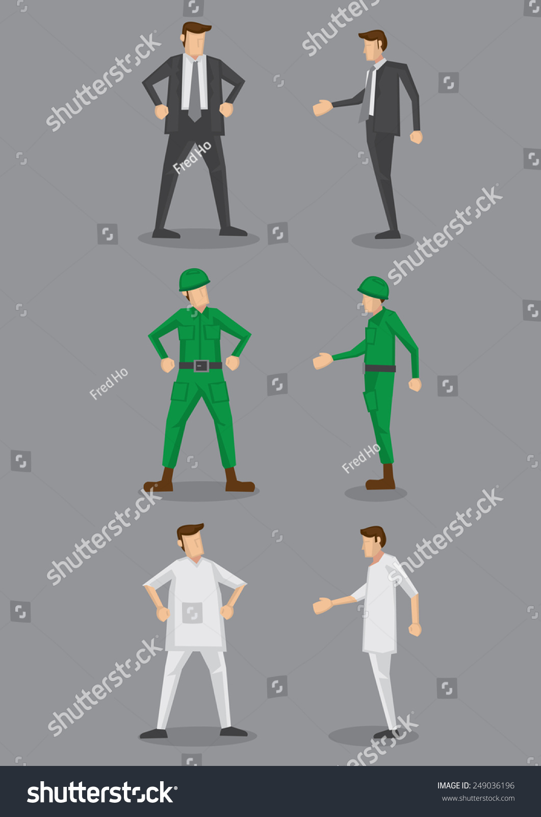 side view office set. Occupation Vector Icon Set For Office Worker, Soldier And Nurse In Front Side View I