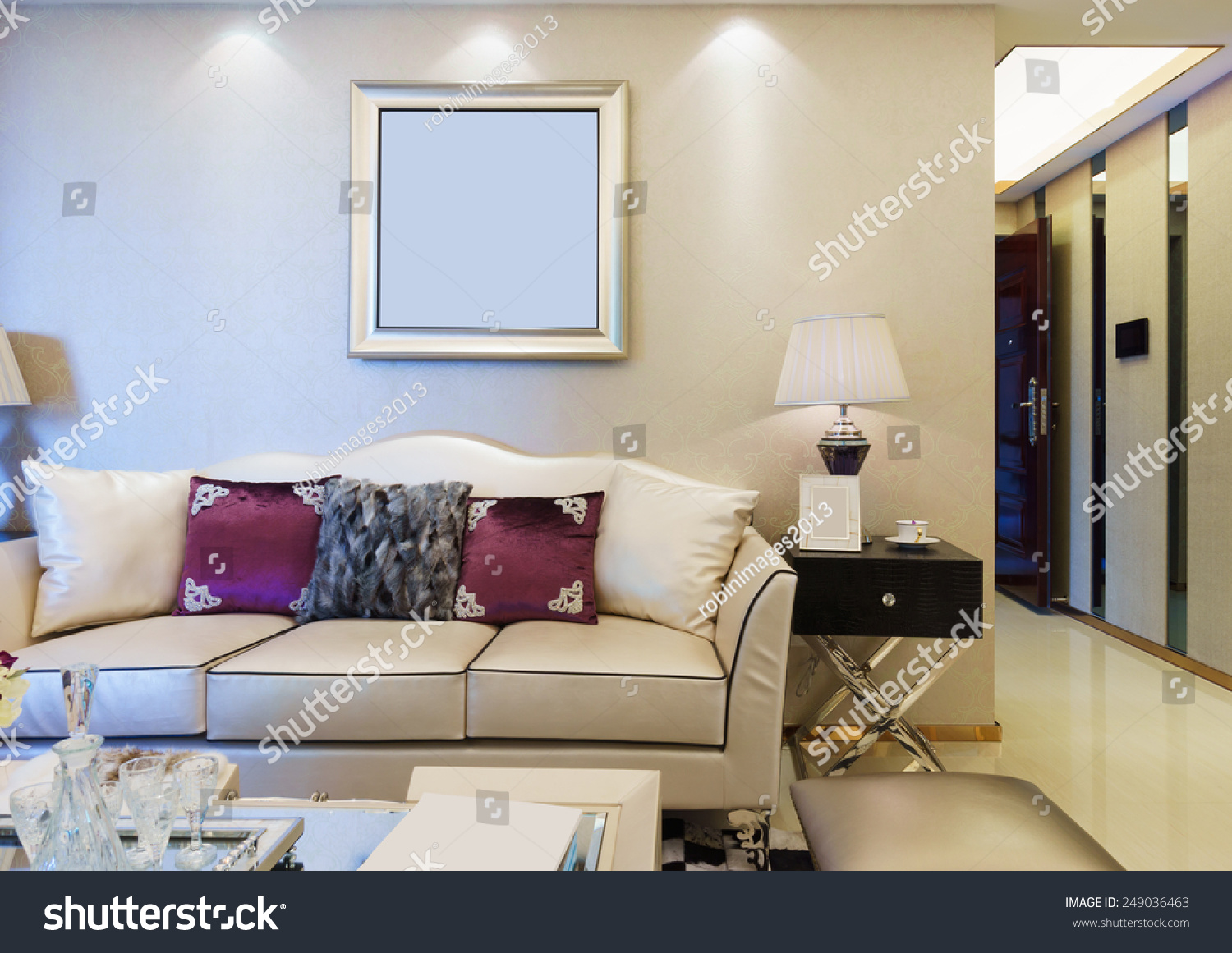 Modern Living Room With Nice Decoration Stock Photo