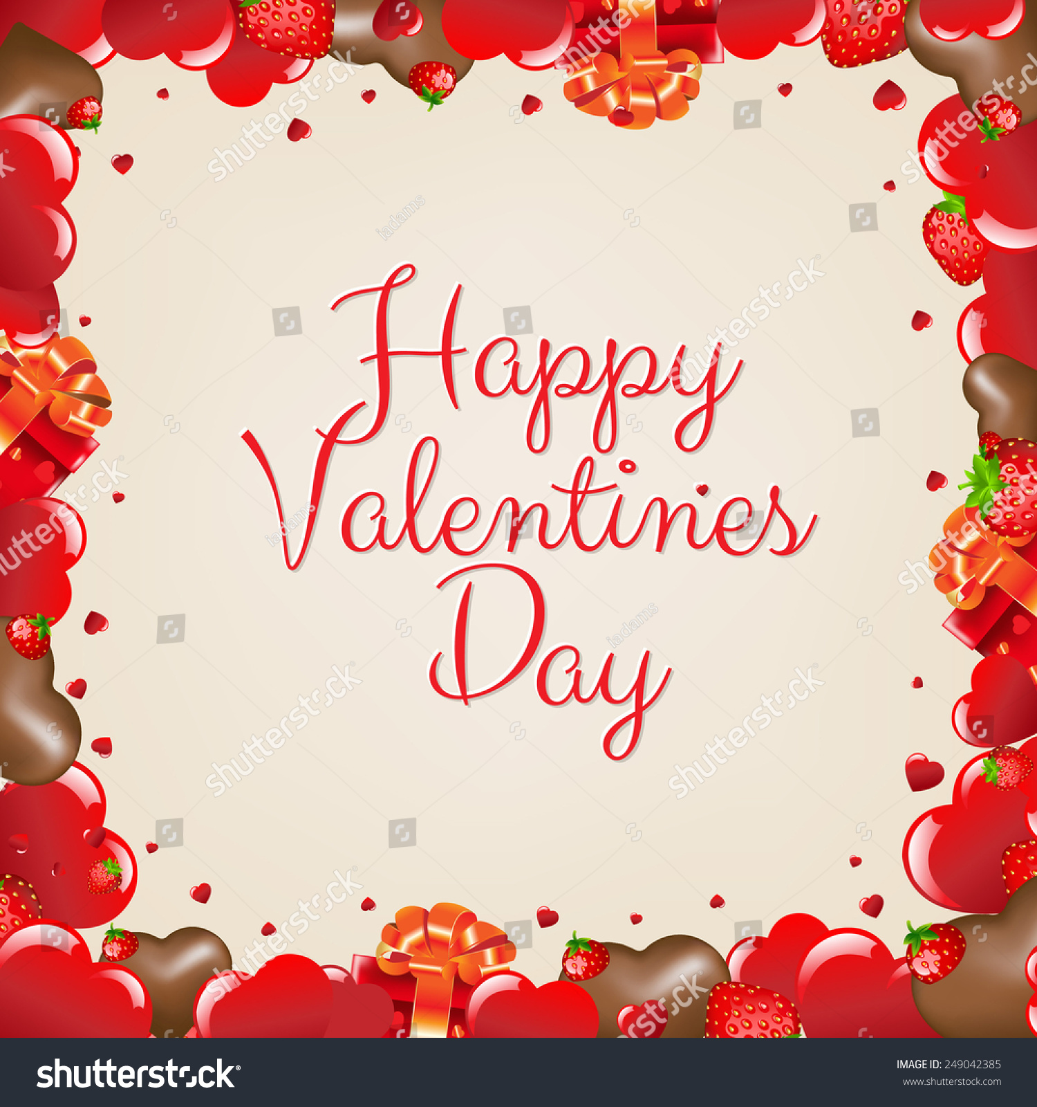 Happy Valentines Day Border With Gradient Mesh, Vector Illustration