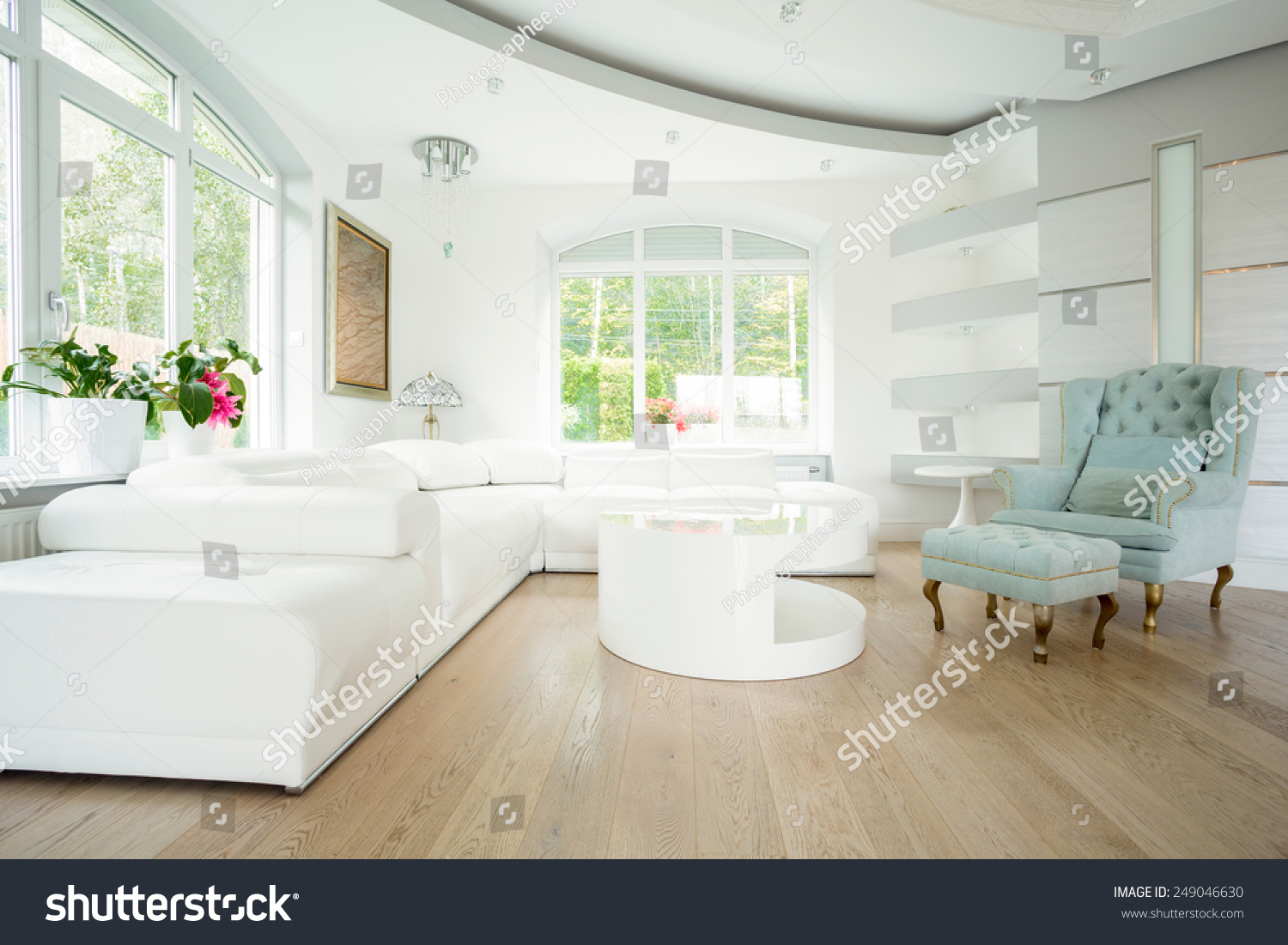 Luxury Living Room Interior In Pastel Colors Stock Photo